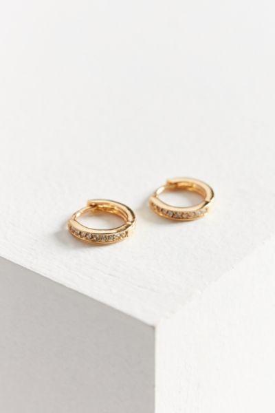 18k Gold Plated Rhinestone Hoop Earring