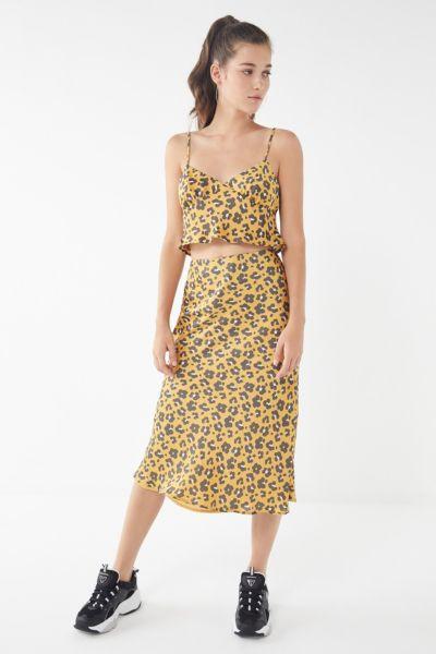 4SI3NNA Quinn Animal Print Satin Skirt
