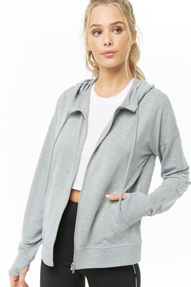 F21 Active Heathered Hooded Jacket