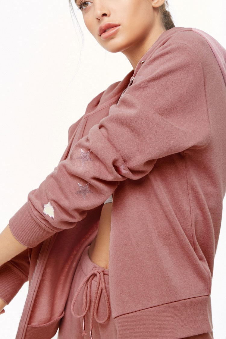 F21 Active Hooded Star Graphic Jacket