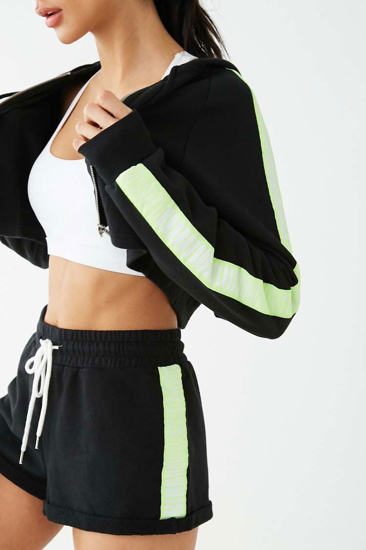 F21 Active Los Angeles Graphic Cropped Jacket