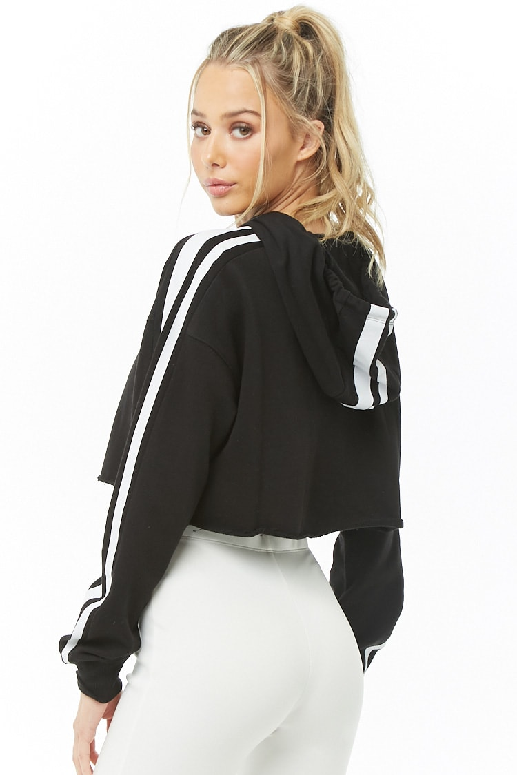 F21 Active Striped Cropped Hoodie