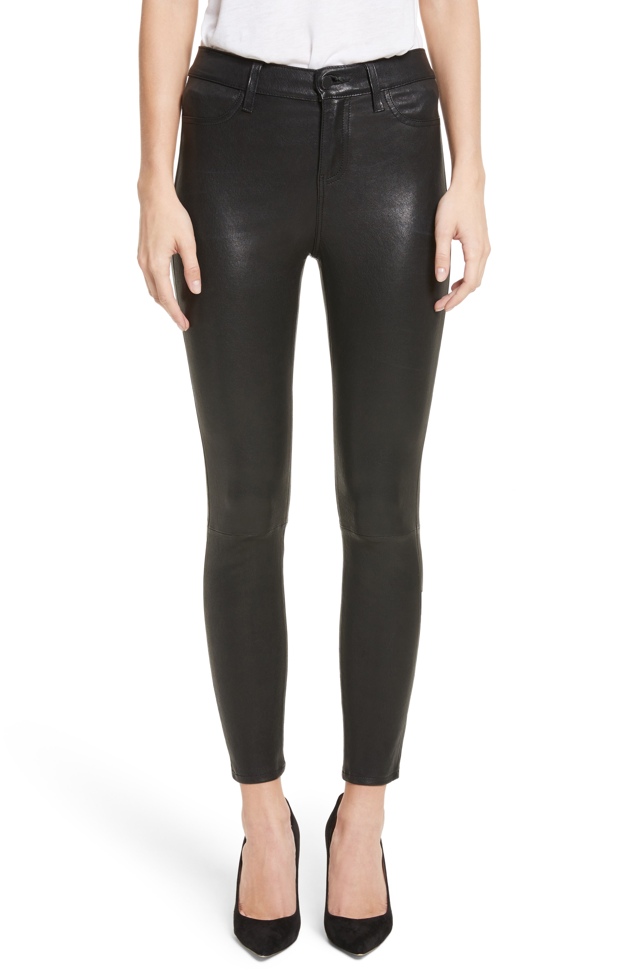 LAGENCE Adelaide High Waist Crop Leather Jeans