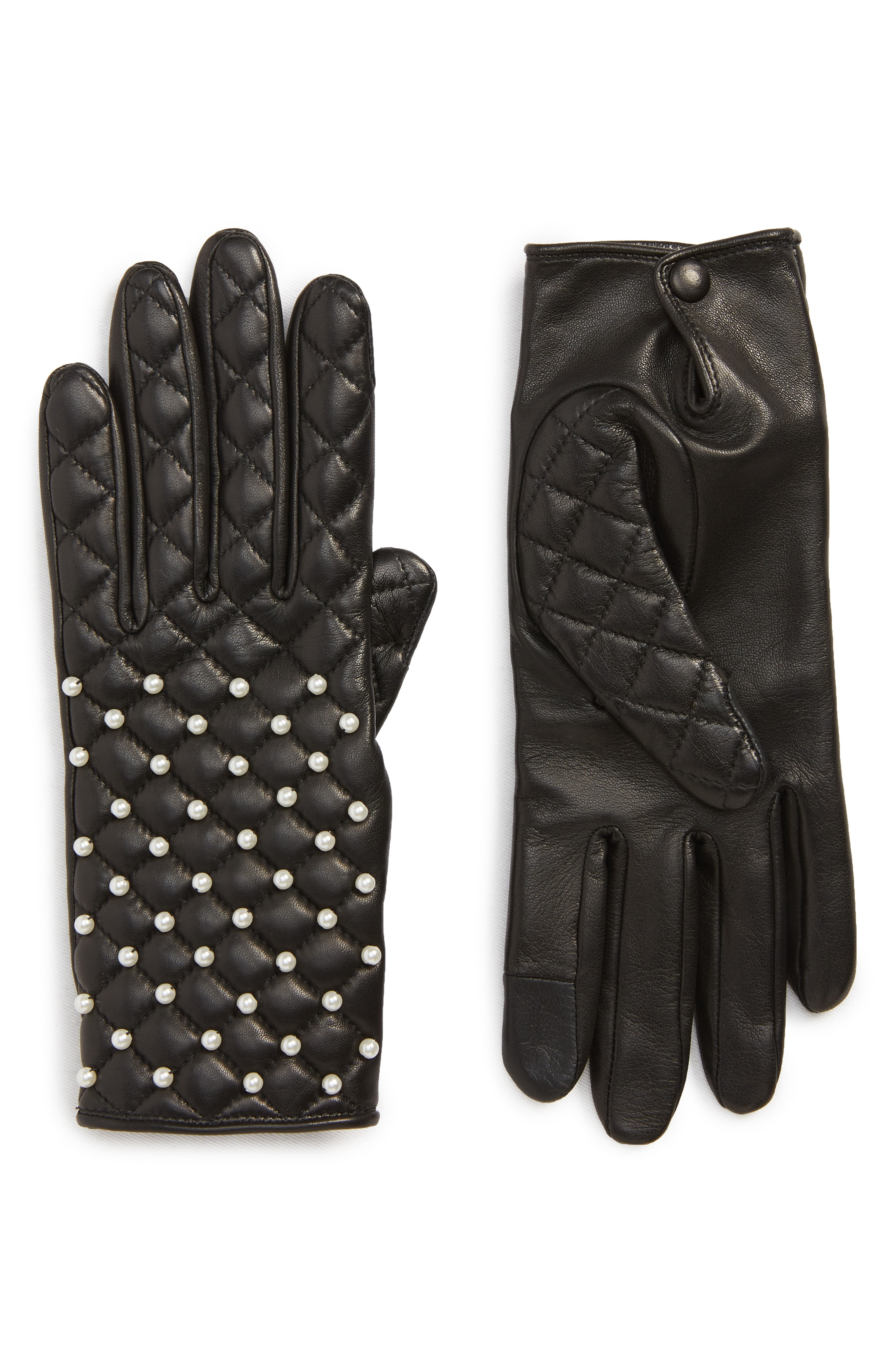 Agnelle Imitation Pearl Quilted Lambskin Leather Gloves