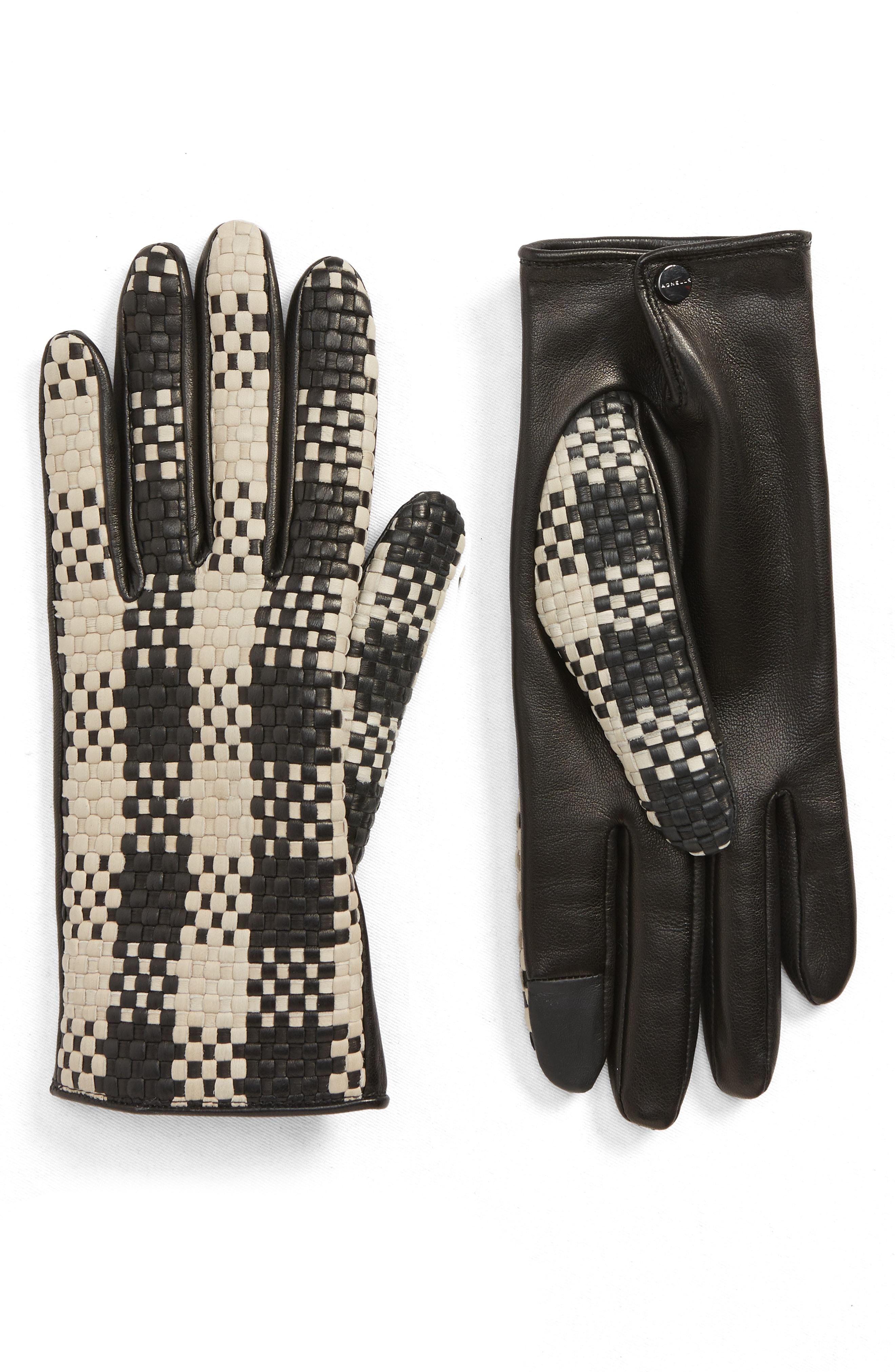 Agnelle Woven Lambskin Leather Gloves