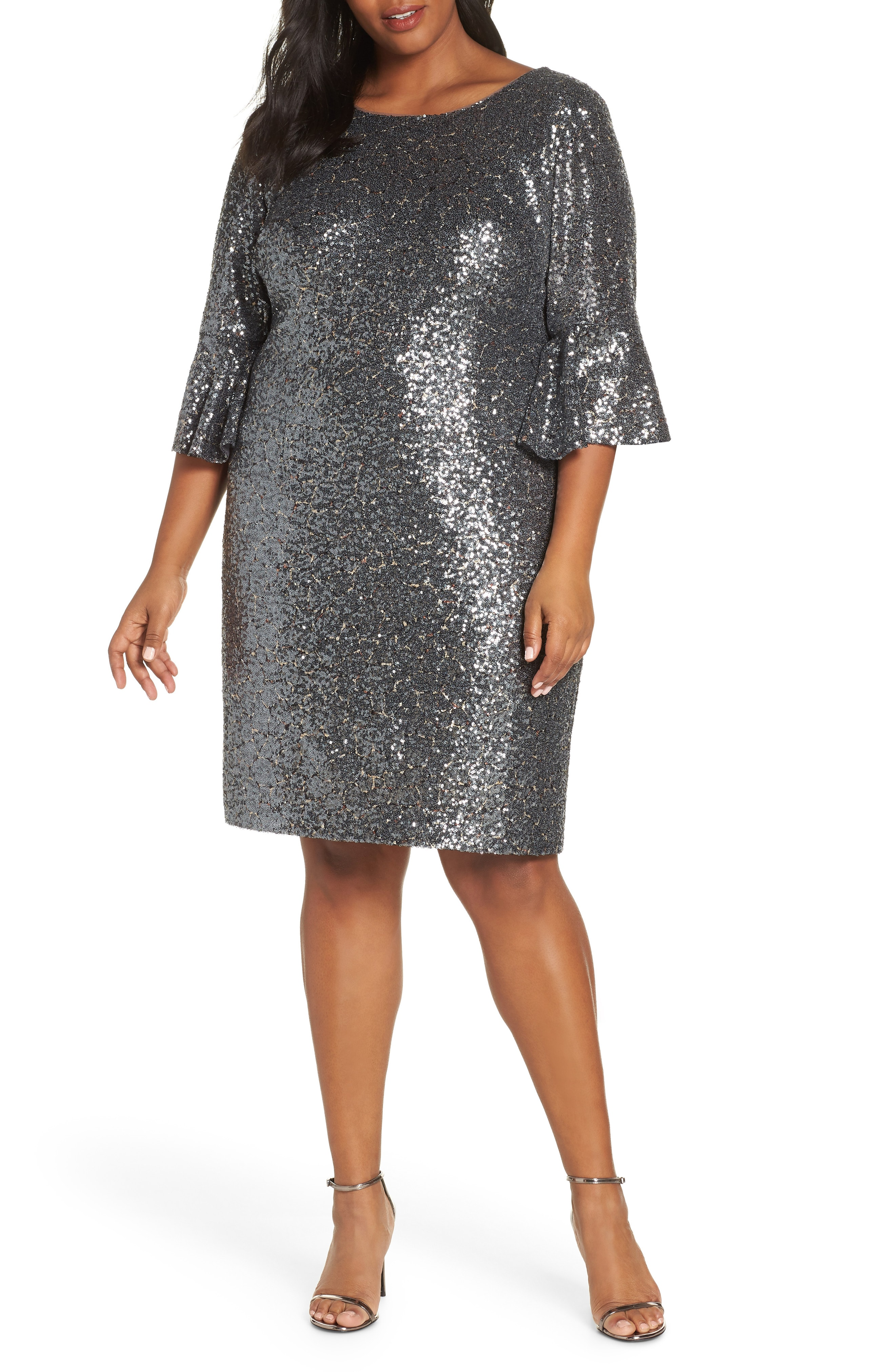Alex Evenings Ruffle Cuff Sequin Cocktail Dress (Plus Size)