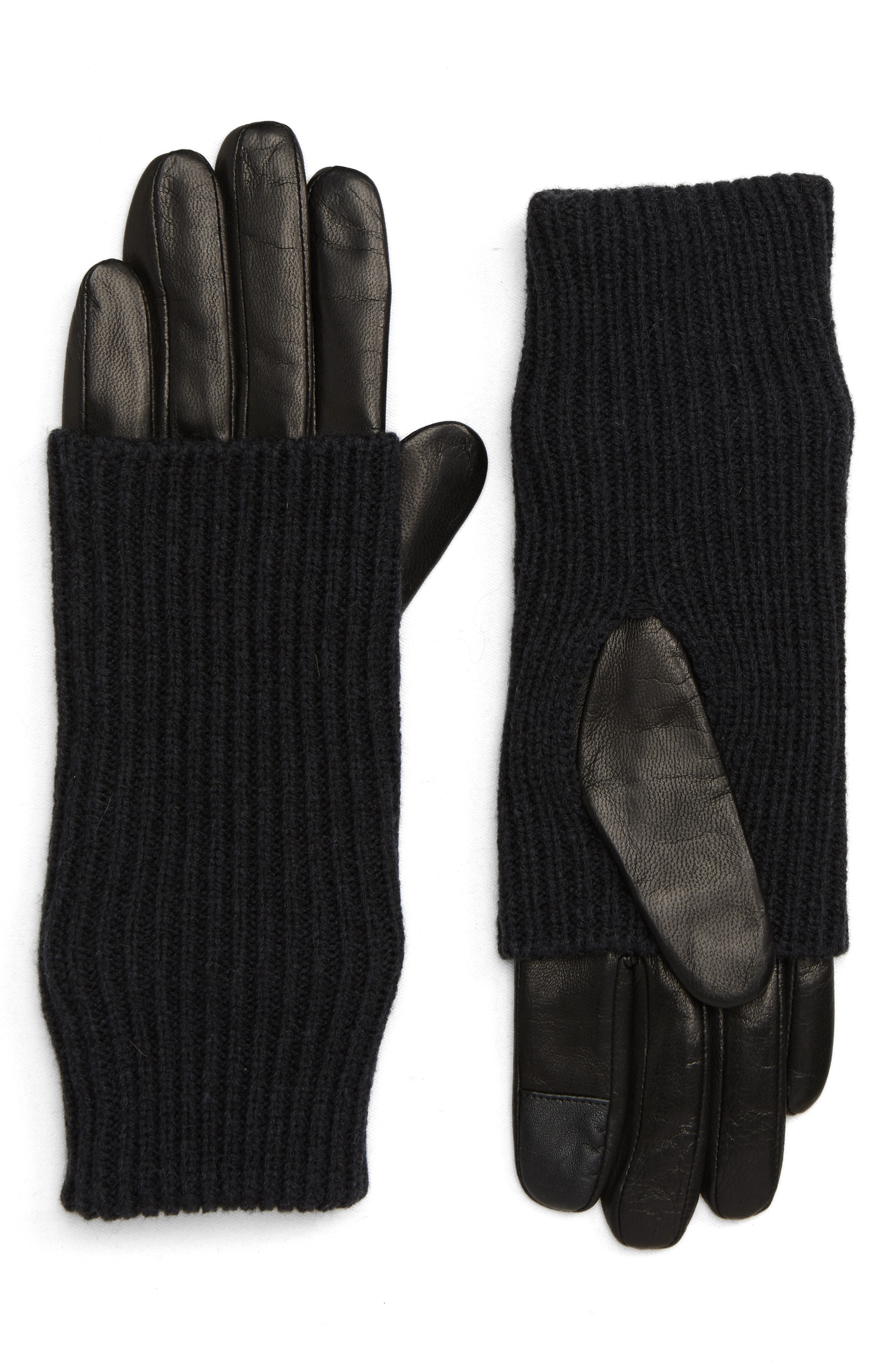 ALLSAINTS Knit & Leather Gloves
