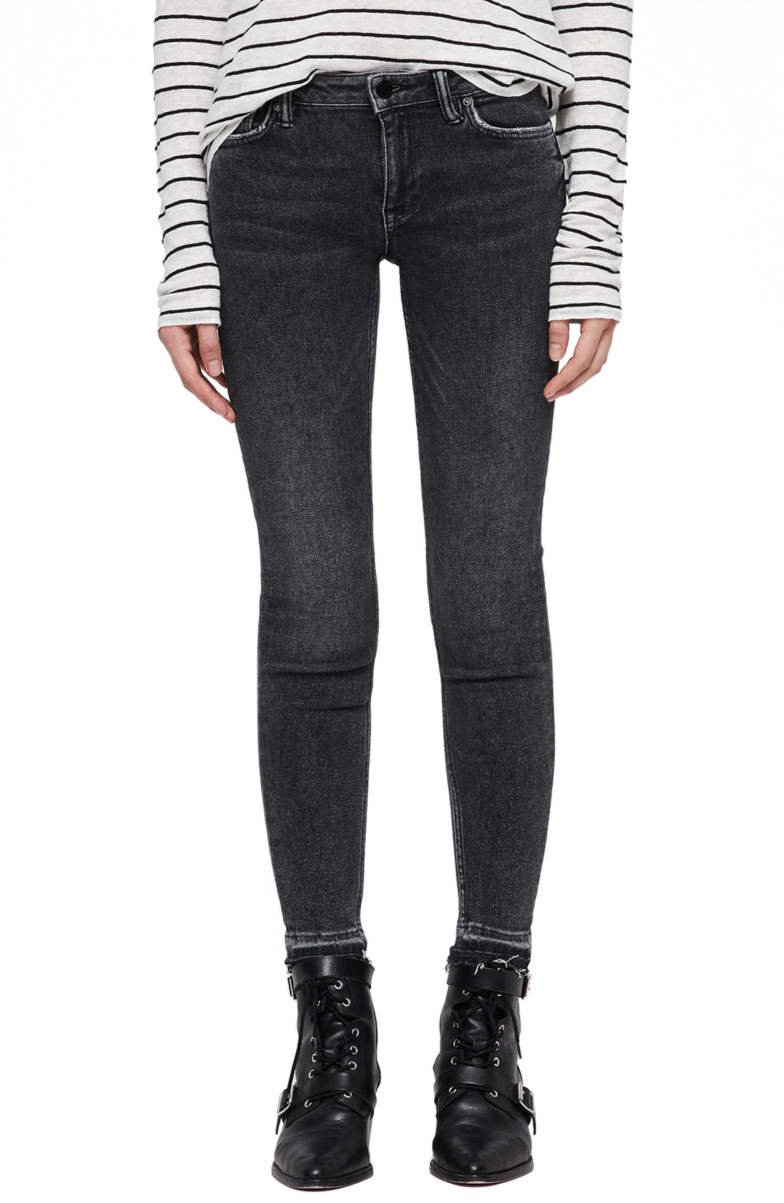 ALLSAINTS Mast Ankle Skinny Jeans (Washed Black)