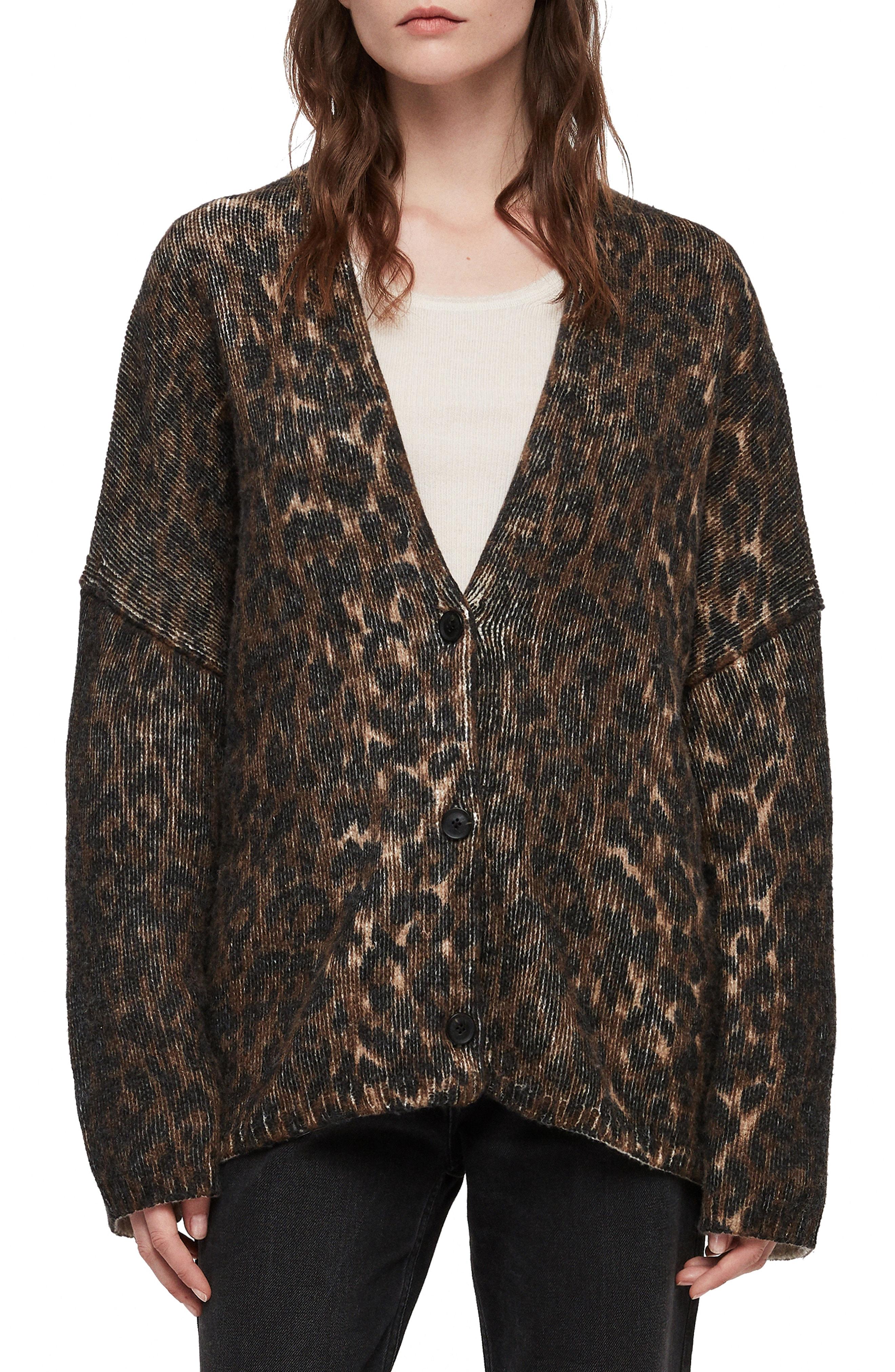 ALLSAINTS Ph Leopard Wool Blend Cardigan