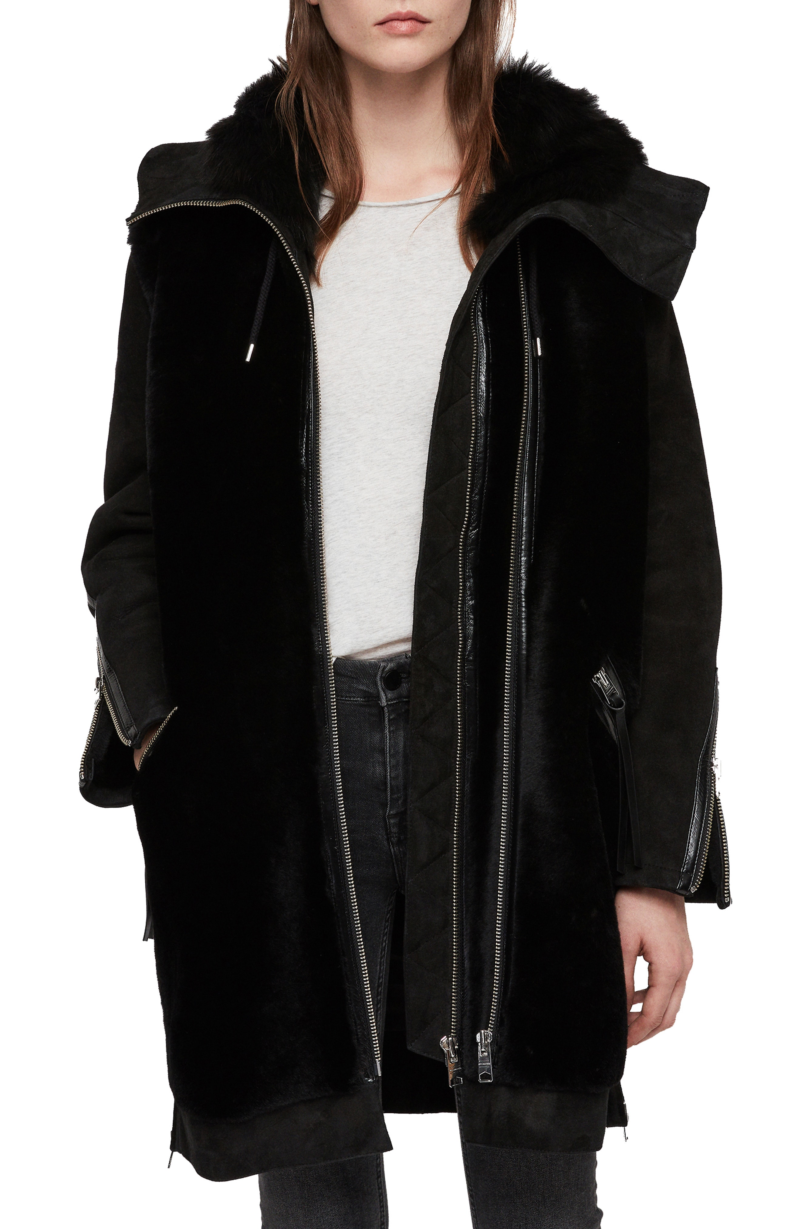 ALLSAINTS State Lux Suede Parka with Genuine Shearling Trim