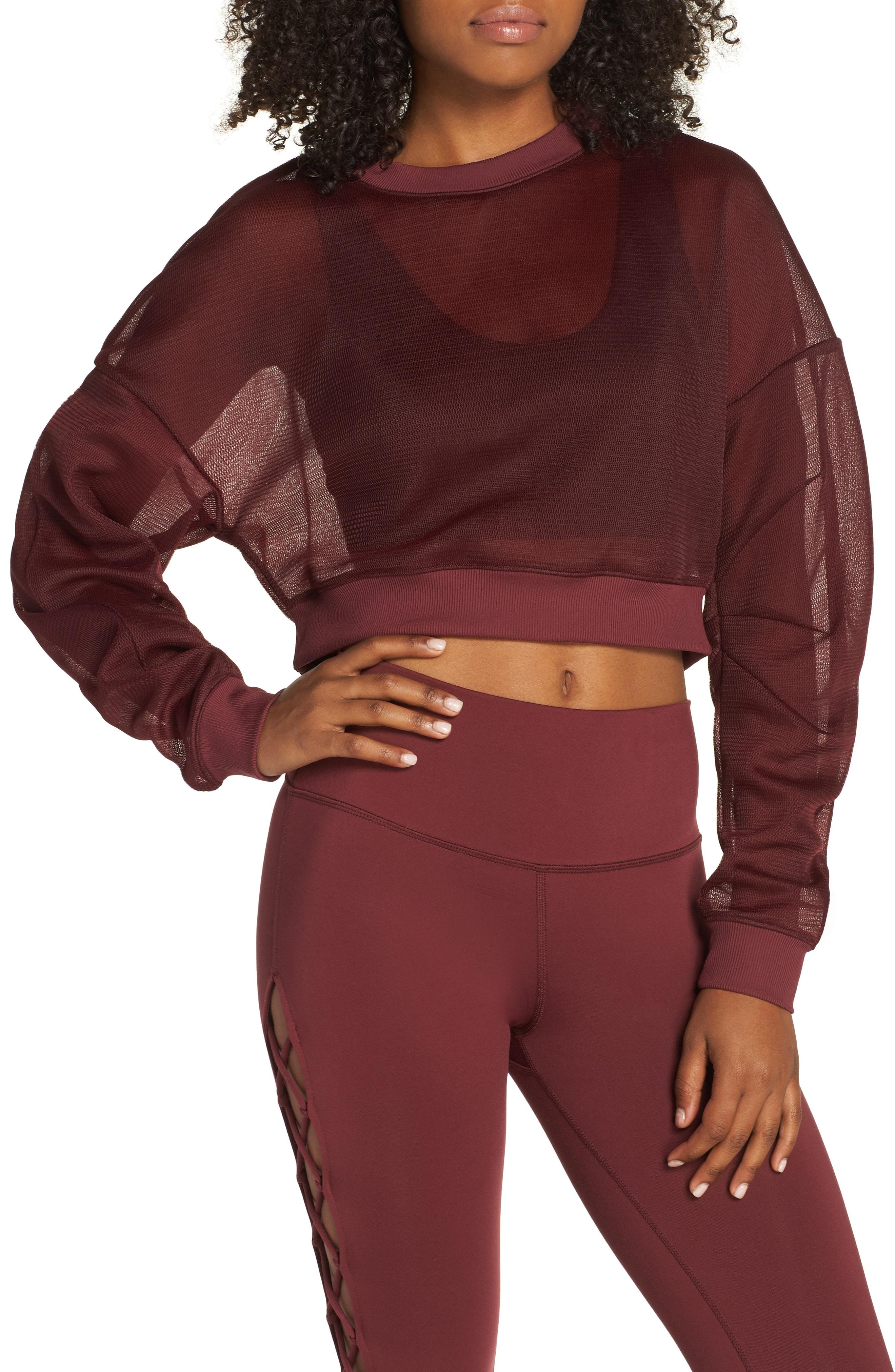 Alo Row Sheer Crop Sweatshirt
