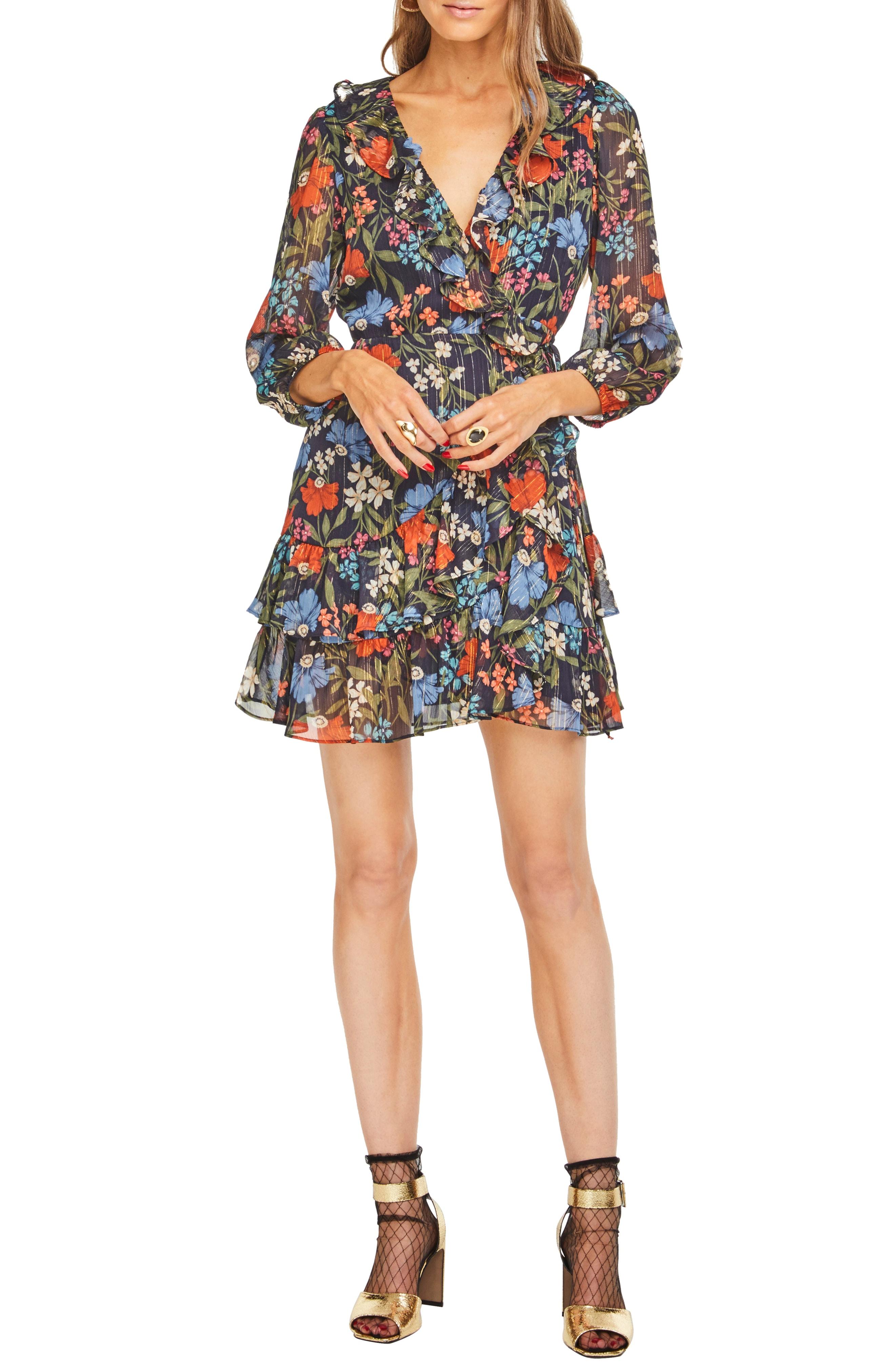 ASTR the Label Cheyanne Floral Chiffon Wrap Dress