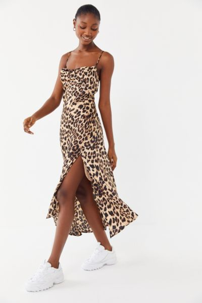 ASTR The Label Leopard Print Cowl Neck Slip Dress