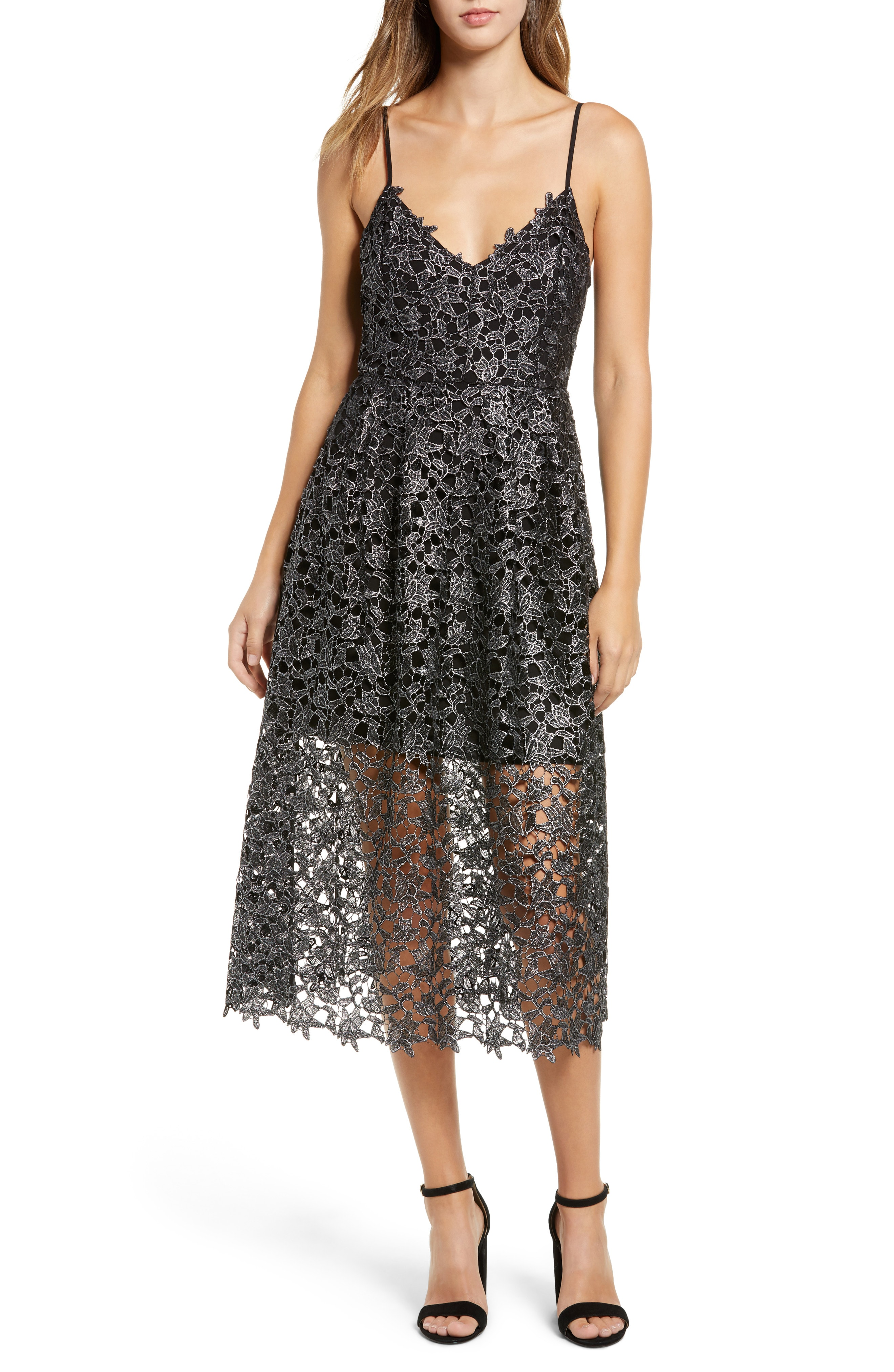 ASTR the Label Metallic Lace Midi Dress