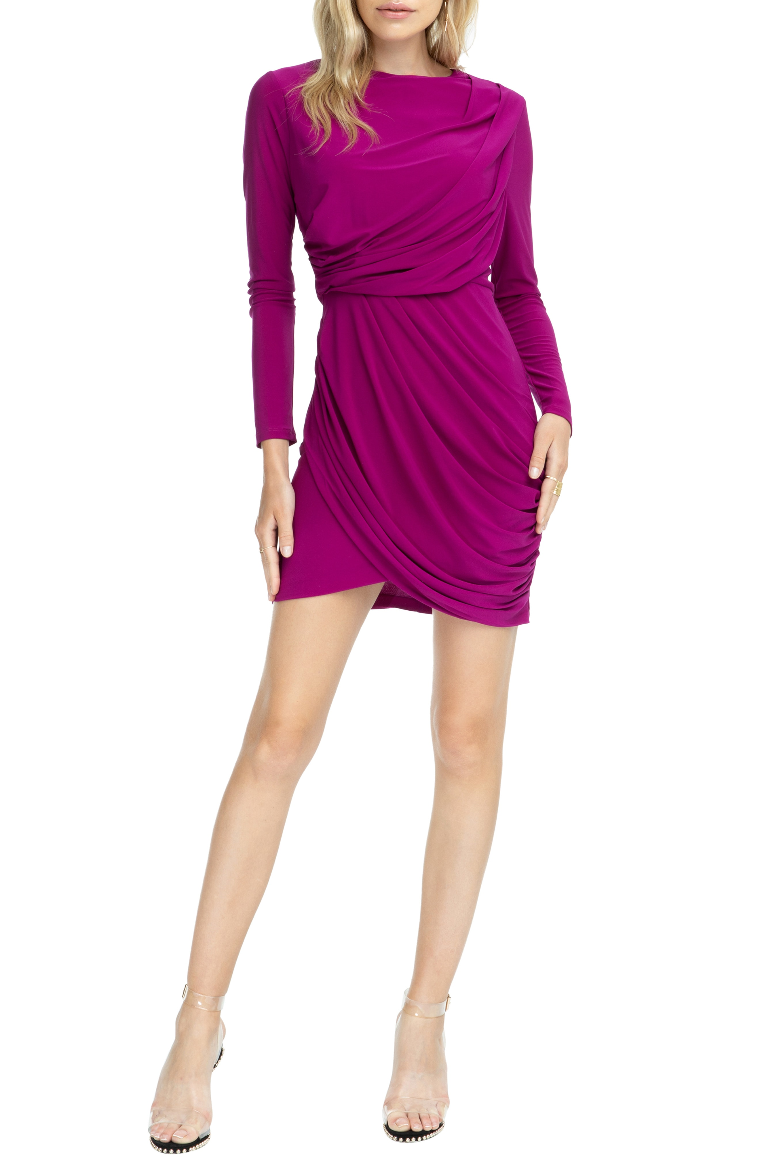 ASTR the Label Wrapped & Ruched Blouson Dress