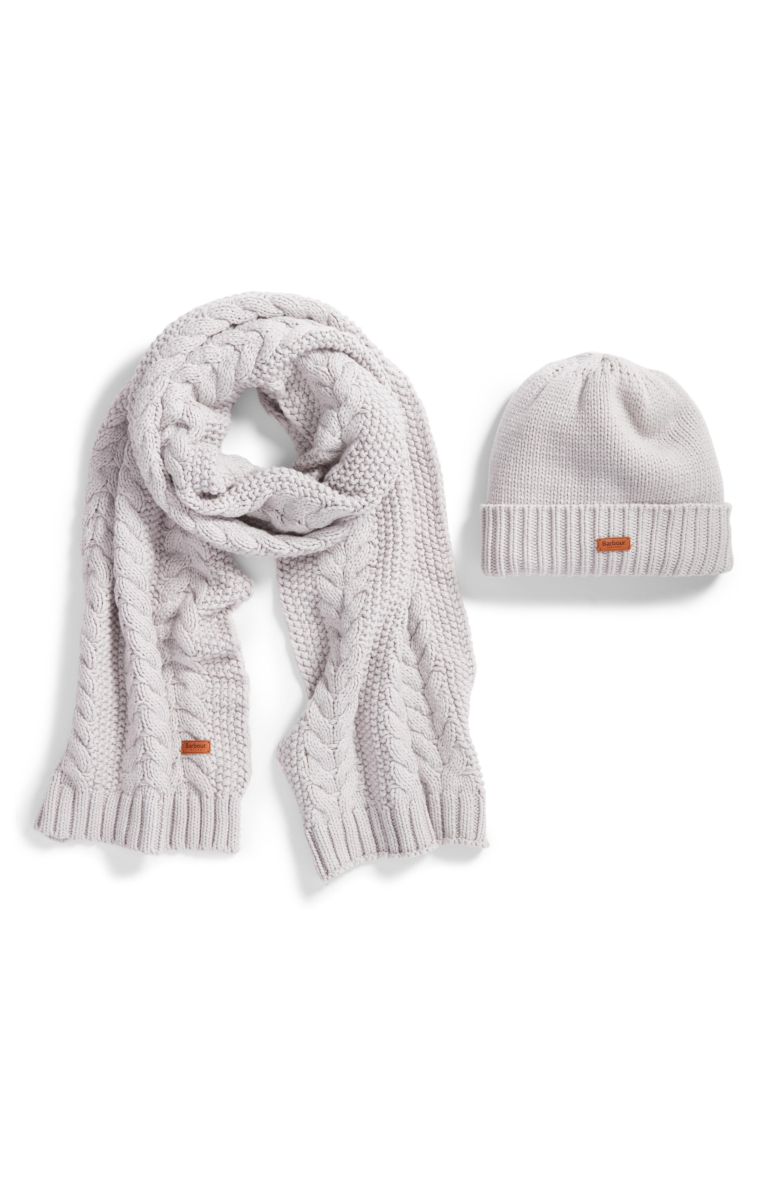 Barbour Cable Knit Hat & Scarf Set