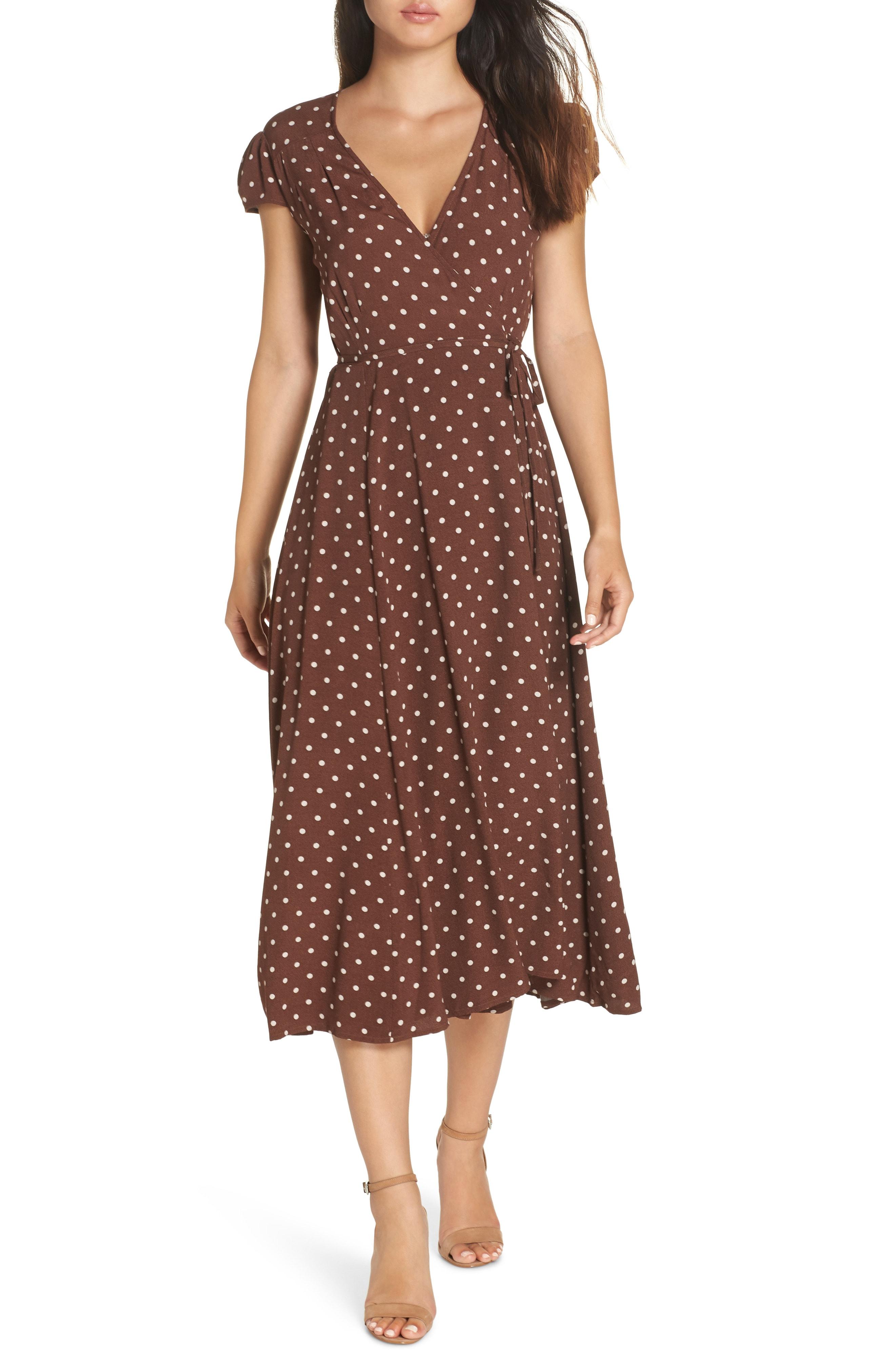 Bardot Polka Dot Wrap Dress