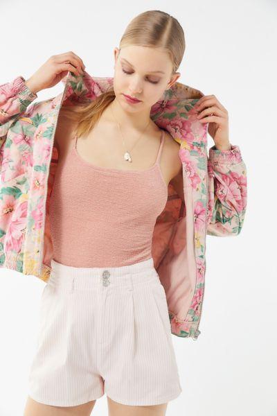 BDG Floral Hooded Bomber Jacket