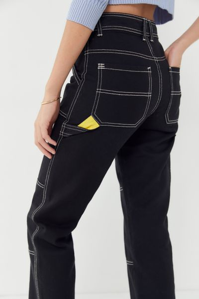 BDG Maura Contrast Stitch Cropped Utility Jean
