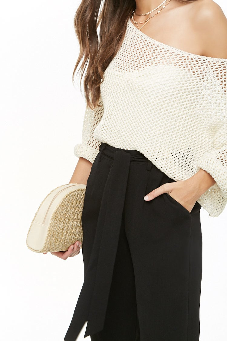 F21 Belted Crepe High-Waist Trousers