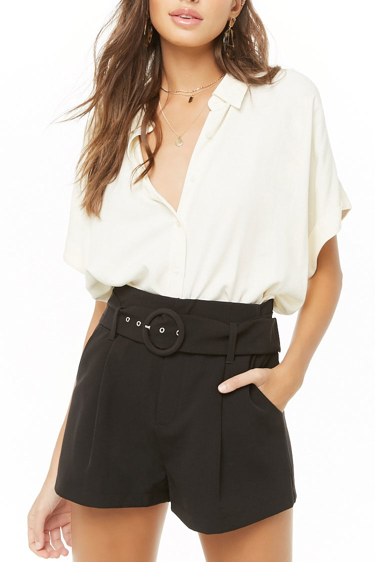 F21 Belted Solid Shorts