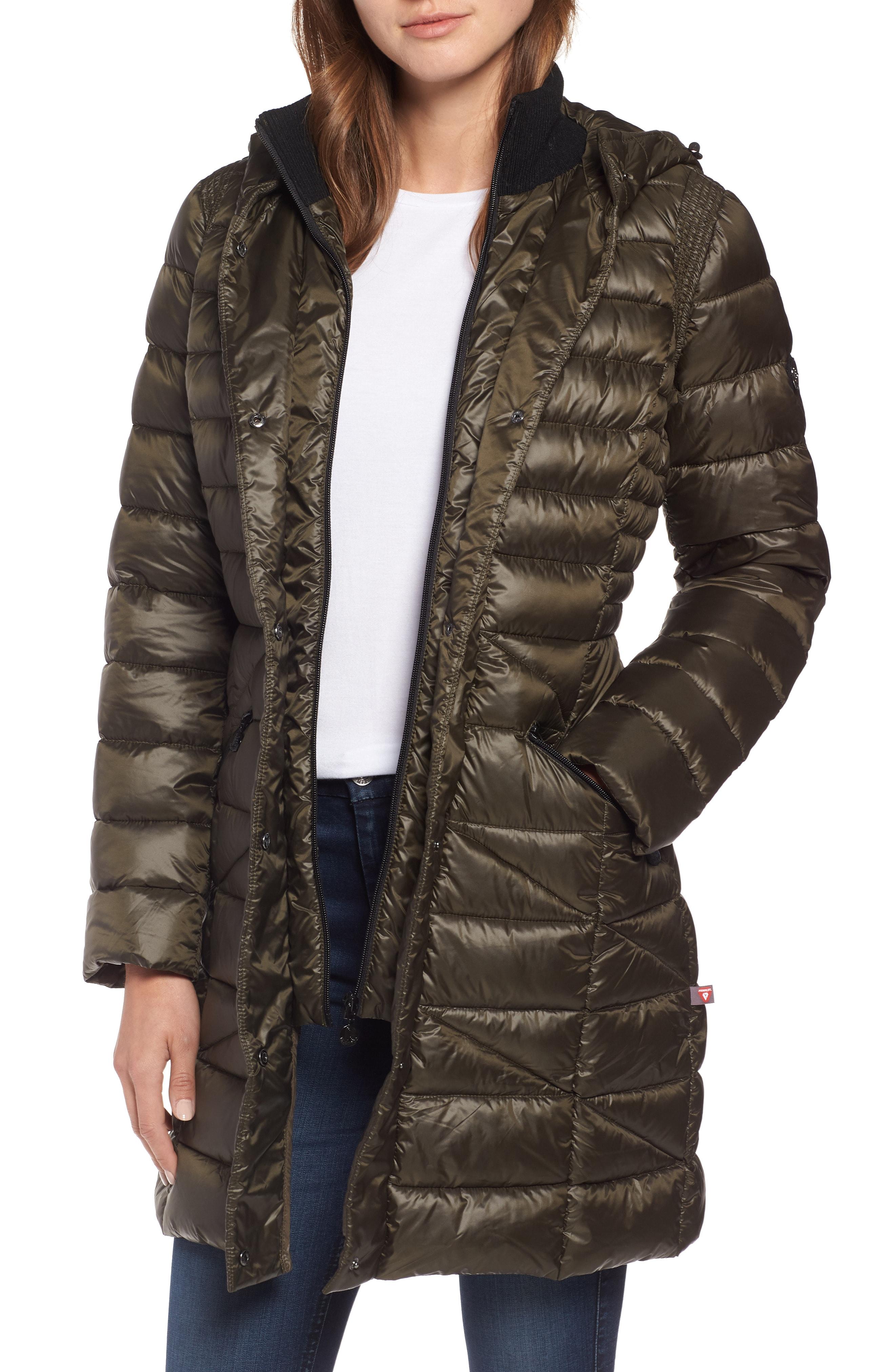 Bernardo Bib Hooded Walker Coat (Regular & Petite)