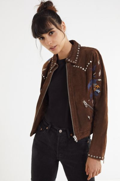 BLANKNYC Embroidered Suede Moto Jacket