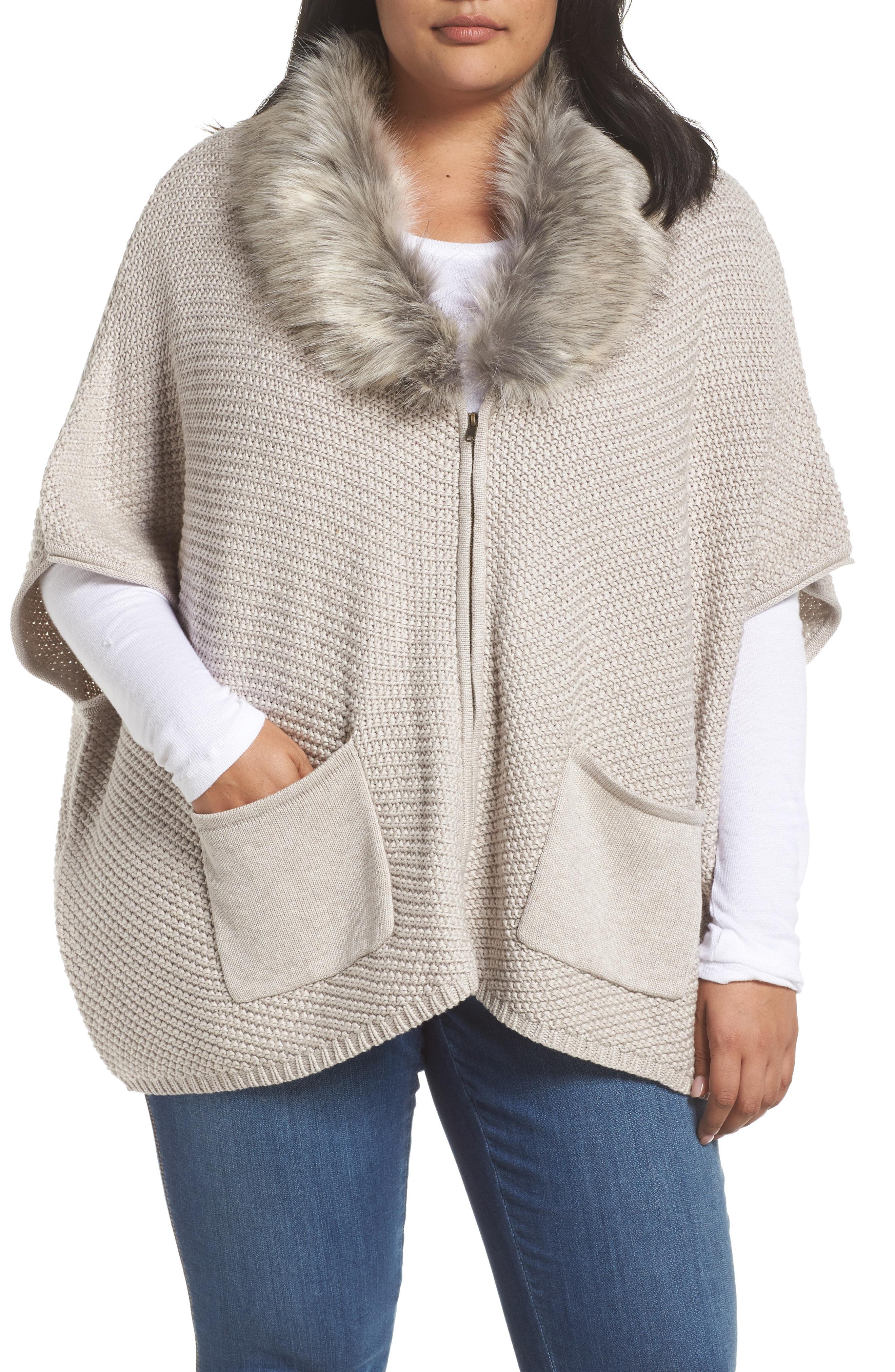 Bobeau Carlie Faux Fur Collar Zip Cardigan (Plus Size)