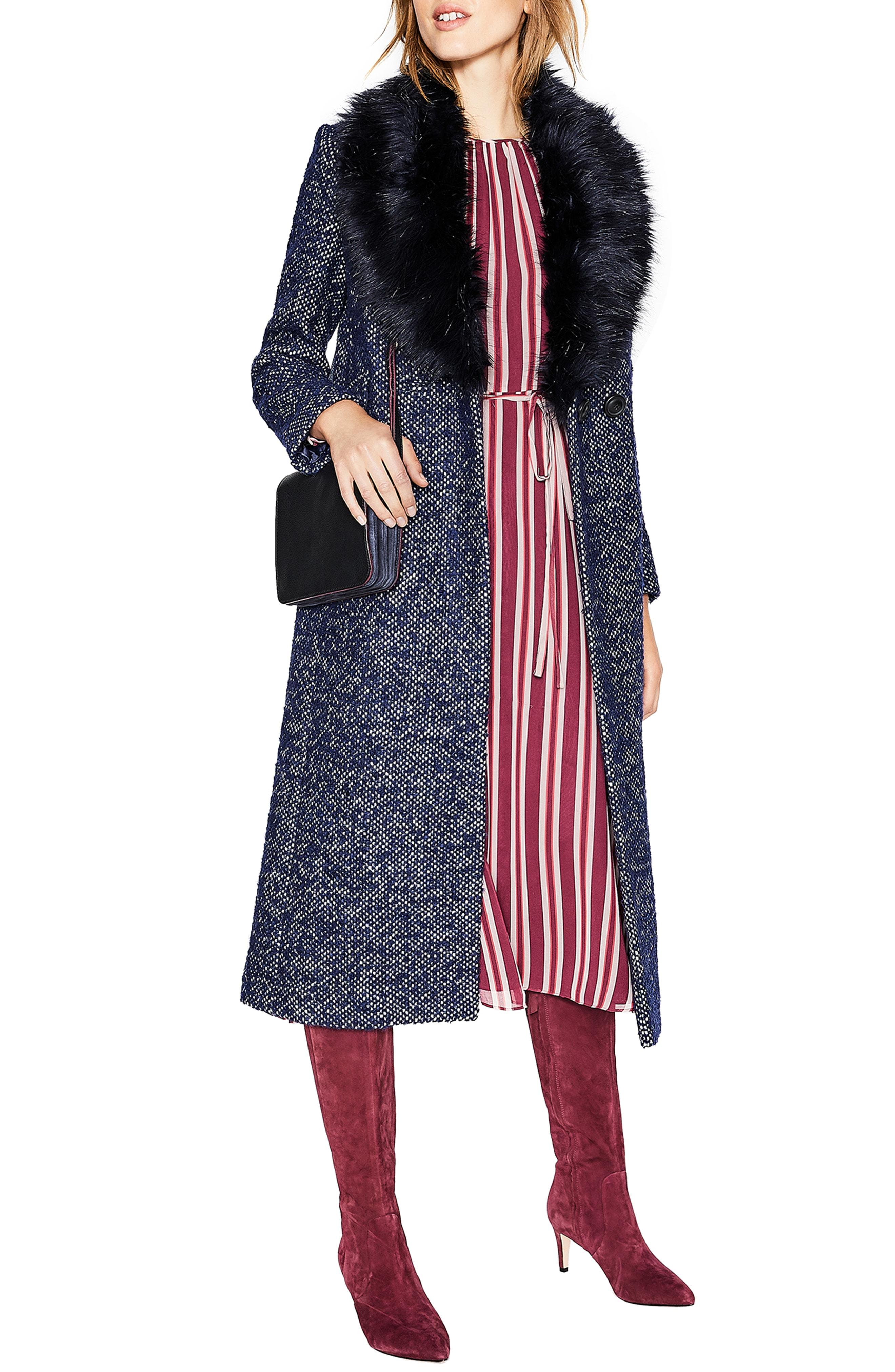 Boden Burley Removable Faux Fur Collar Tweed Coat