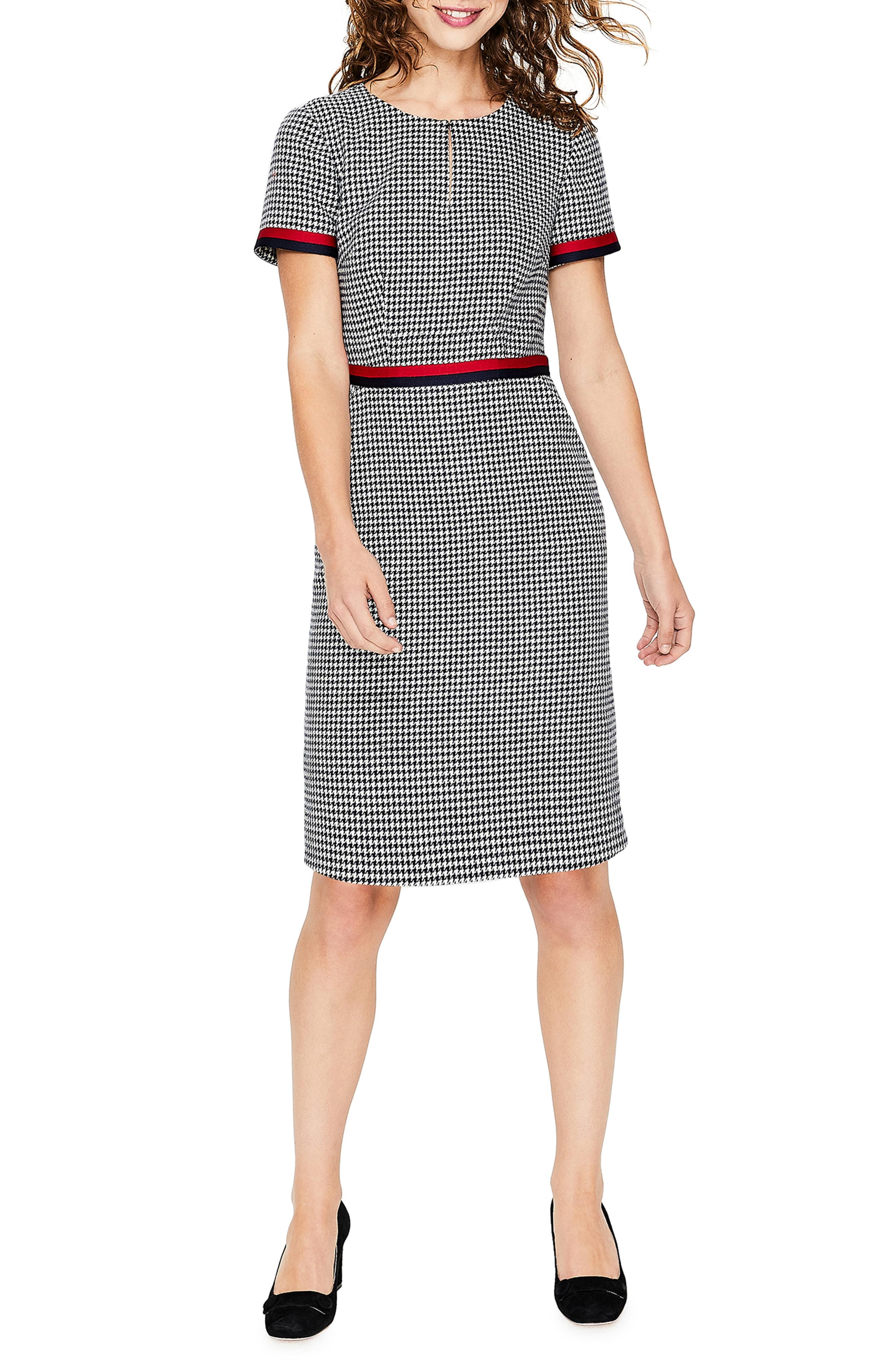 Boden Ribbon Trim Wool Tweed Dress