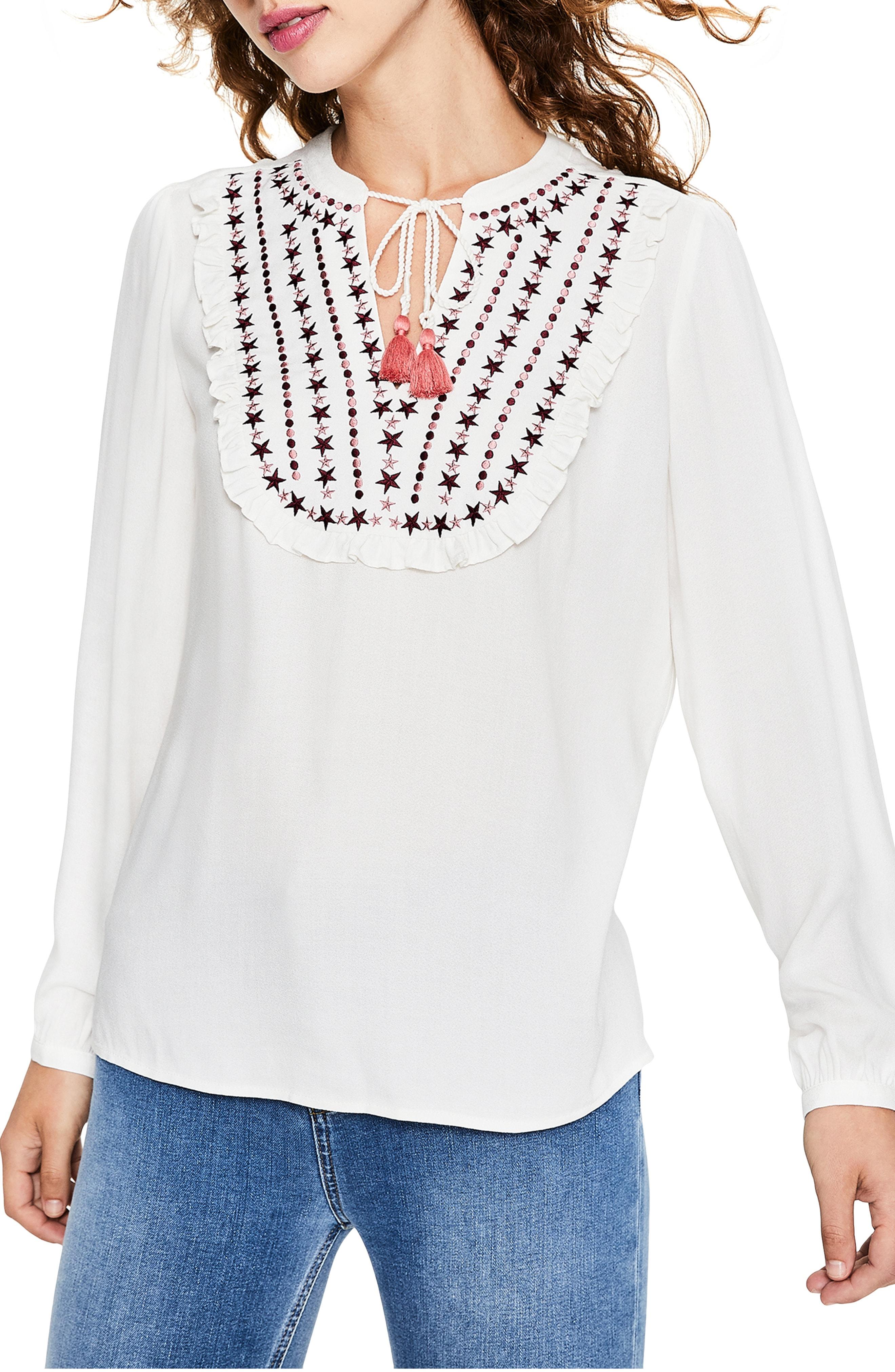 Boden Star Embroidery Tassel Tie Top