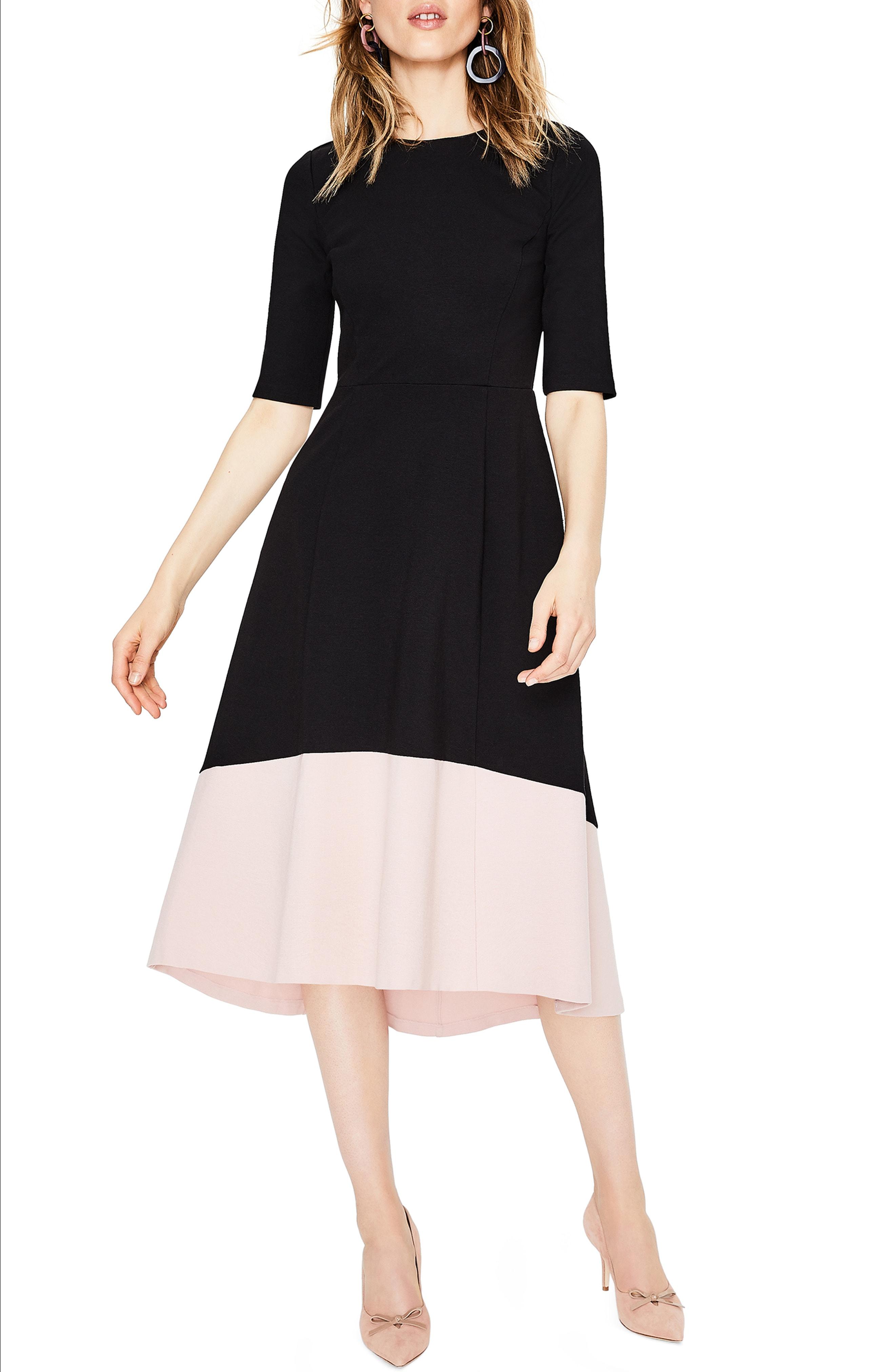 Boden Wren Colorblock Cotton Blend Ponte Dress