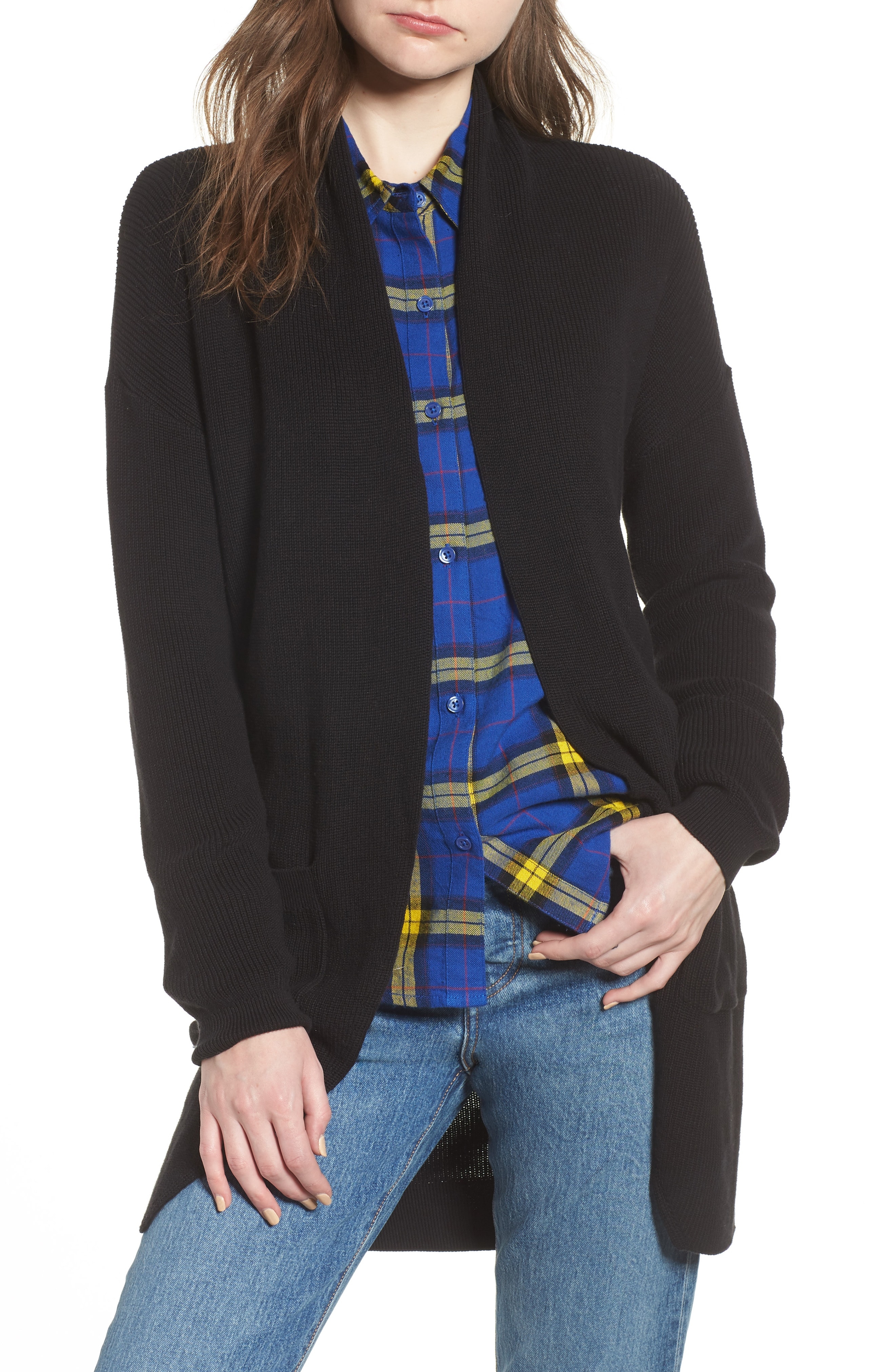 BP. Stitch Curve Hem Cardigan (Regular & Plus Size)