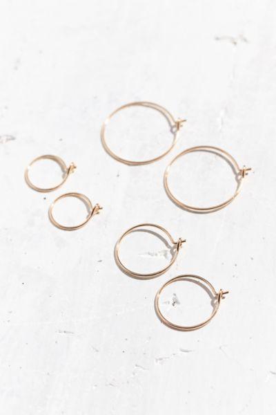 Brass Wire Hoop Earring Set