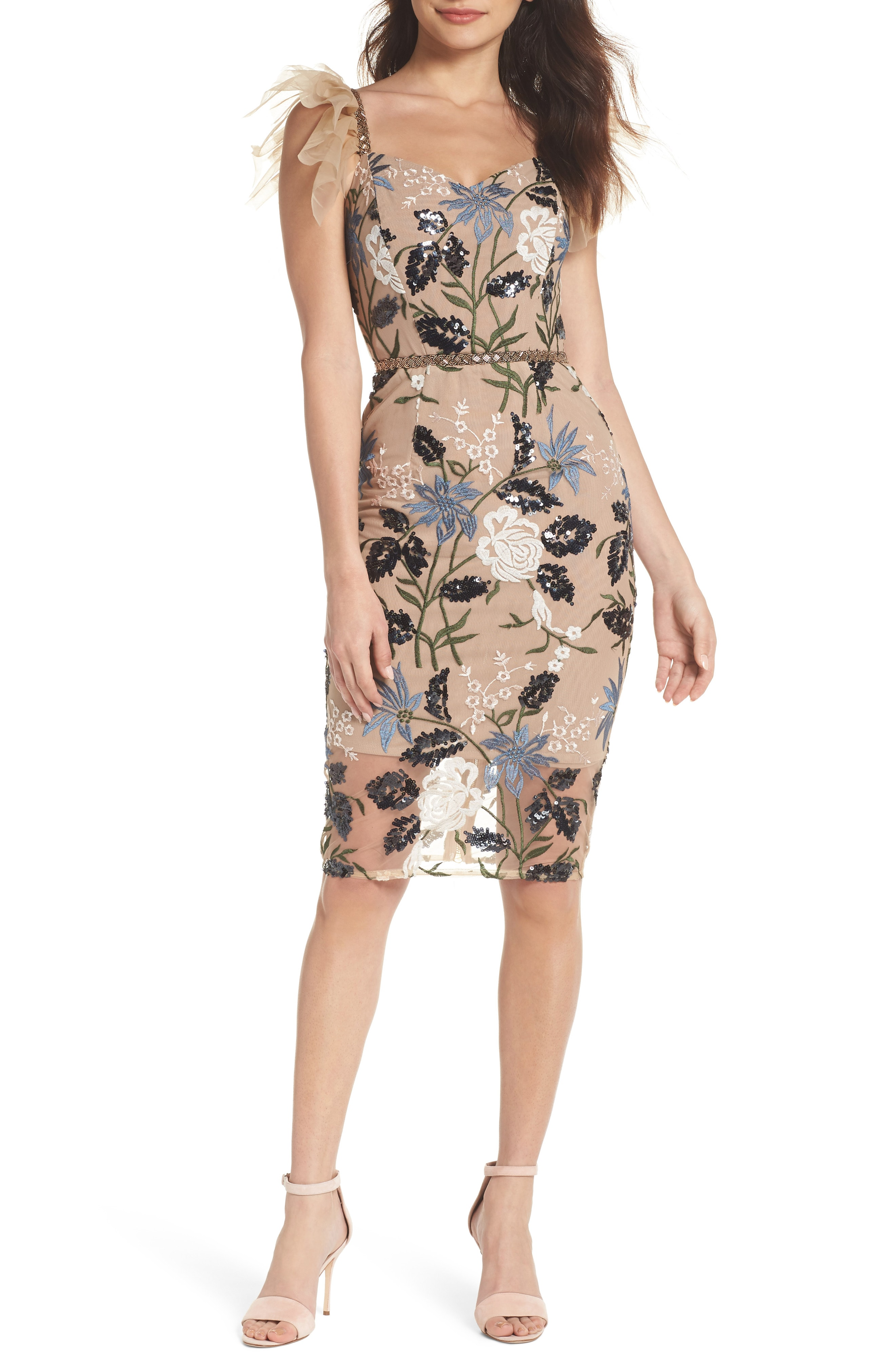 Bronx and Banco Tunisia Embroidered Tulle Cocktail Dress
