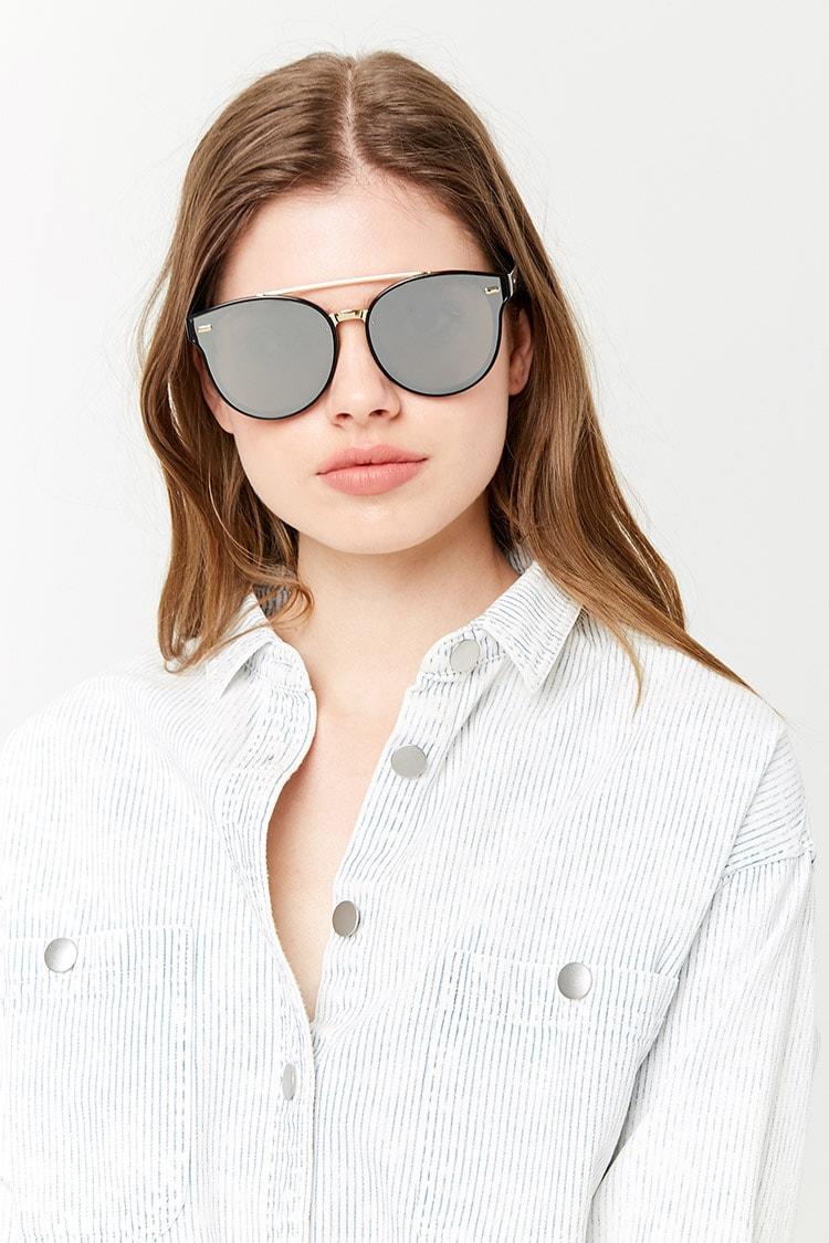 F21 Brow-Bar Round Sunglasses