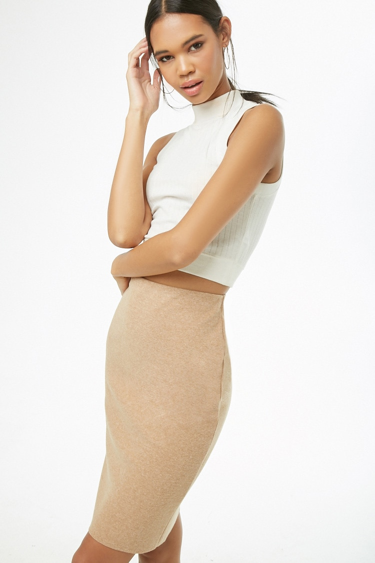 LOVE21 Brushed Knit Pencil Skirt