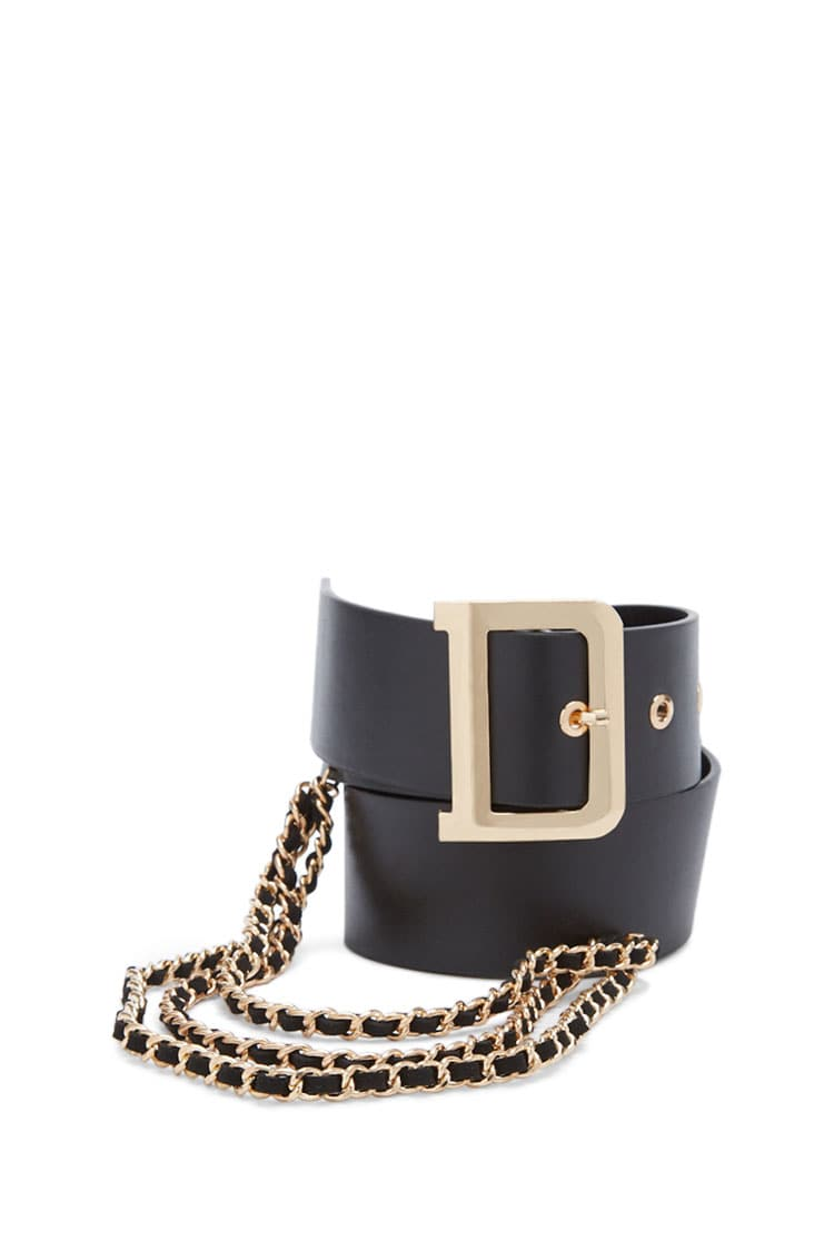F21 Buckled & Chained Waist Belt