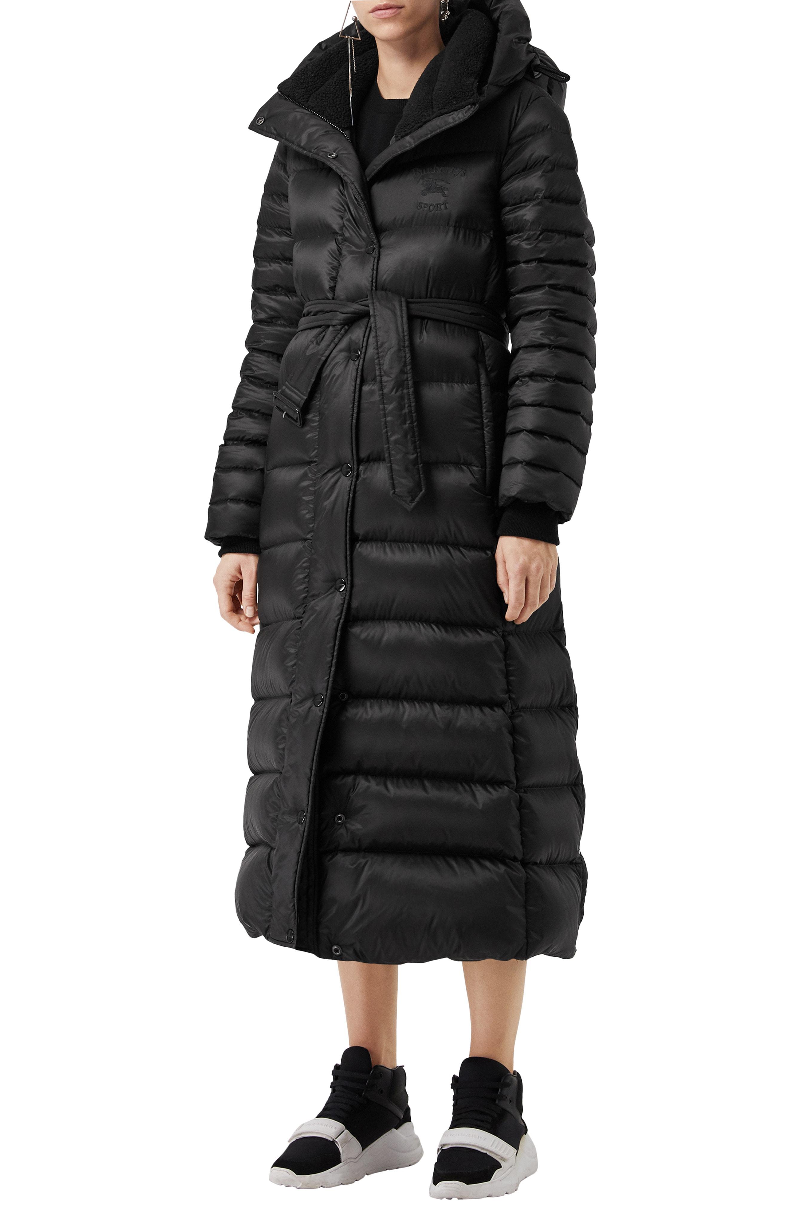 Burberry Kington Faux Fur Trim Long Down Coat