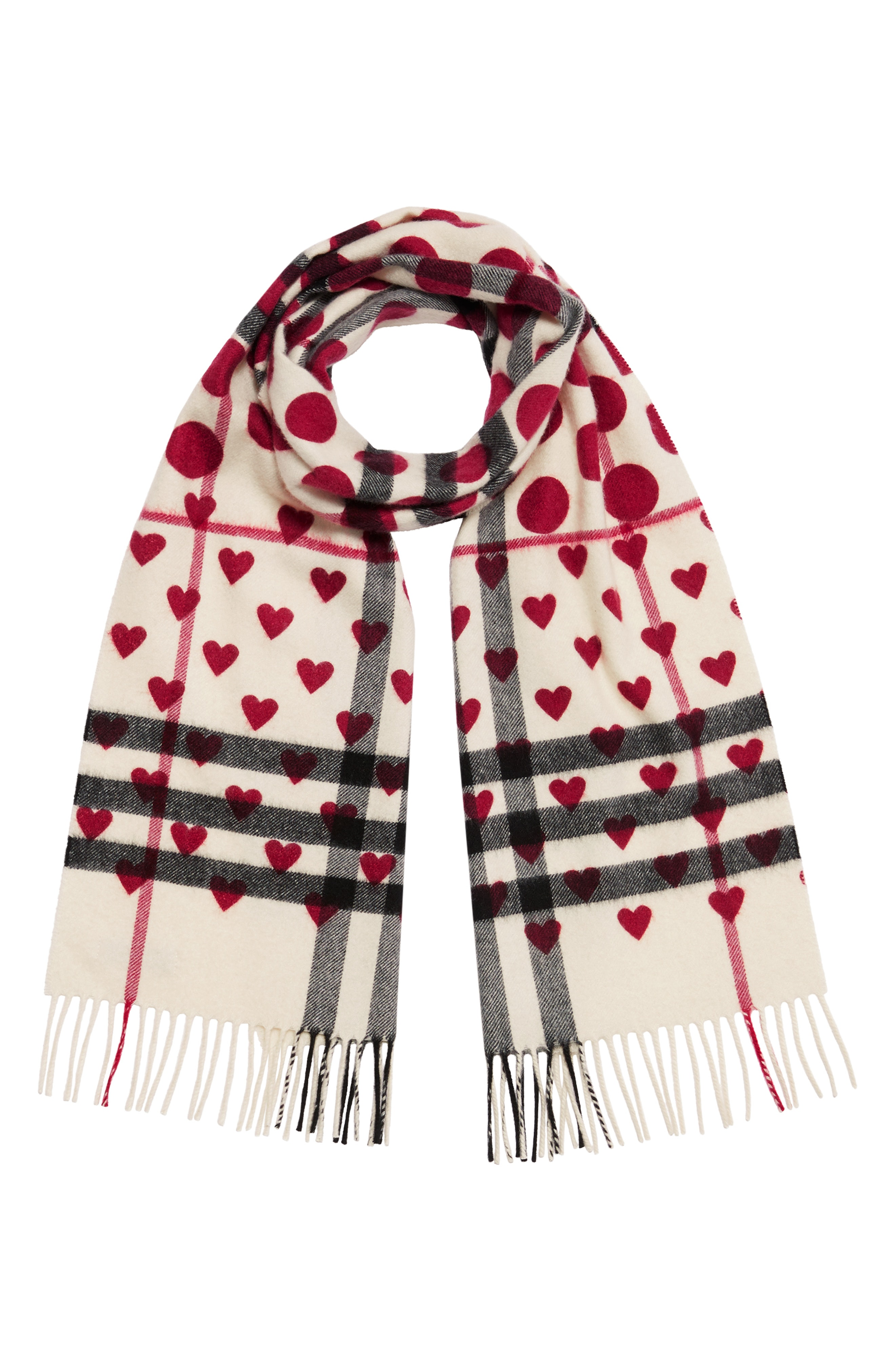 Burberry The Classic Heart Check Cashmere Scarf