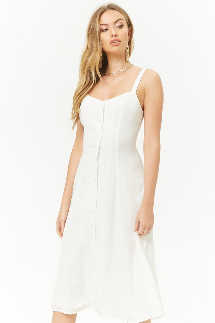 F21 Caged Button-Front Midi Dress