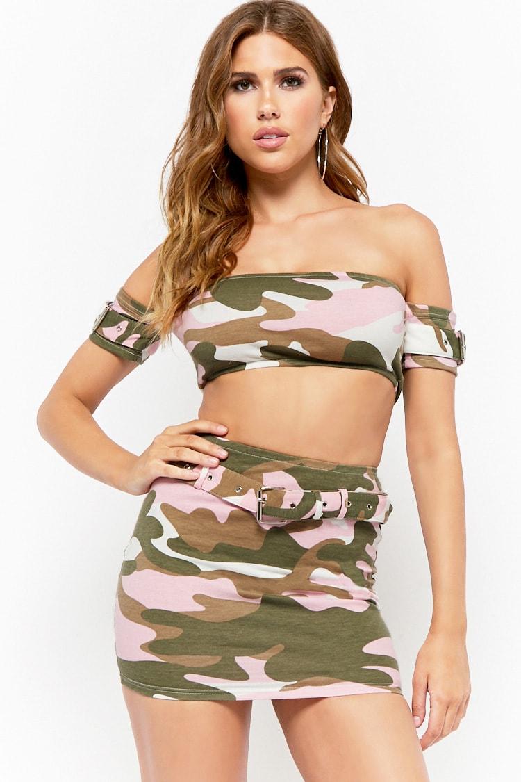 F21 Camo Off-the-Shoulder Crop Top & Mini Skirt Set