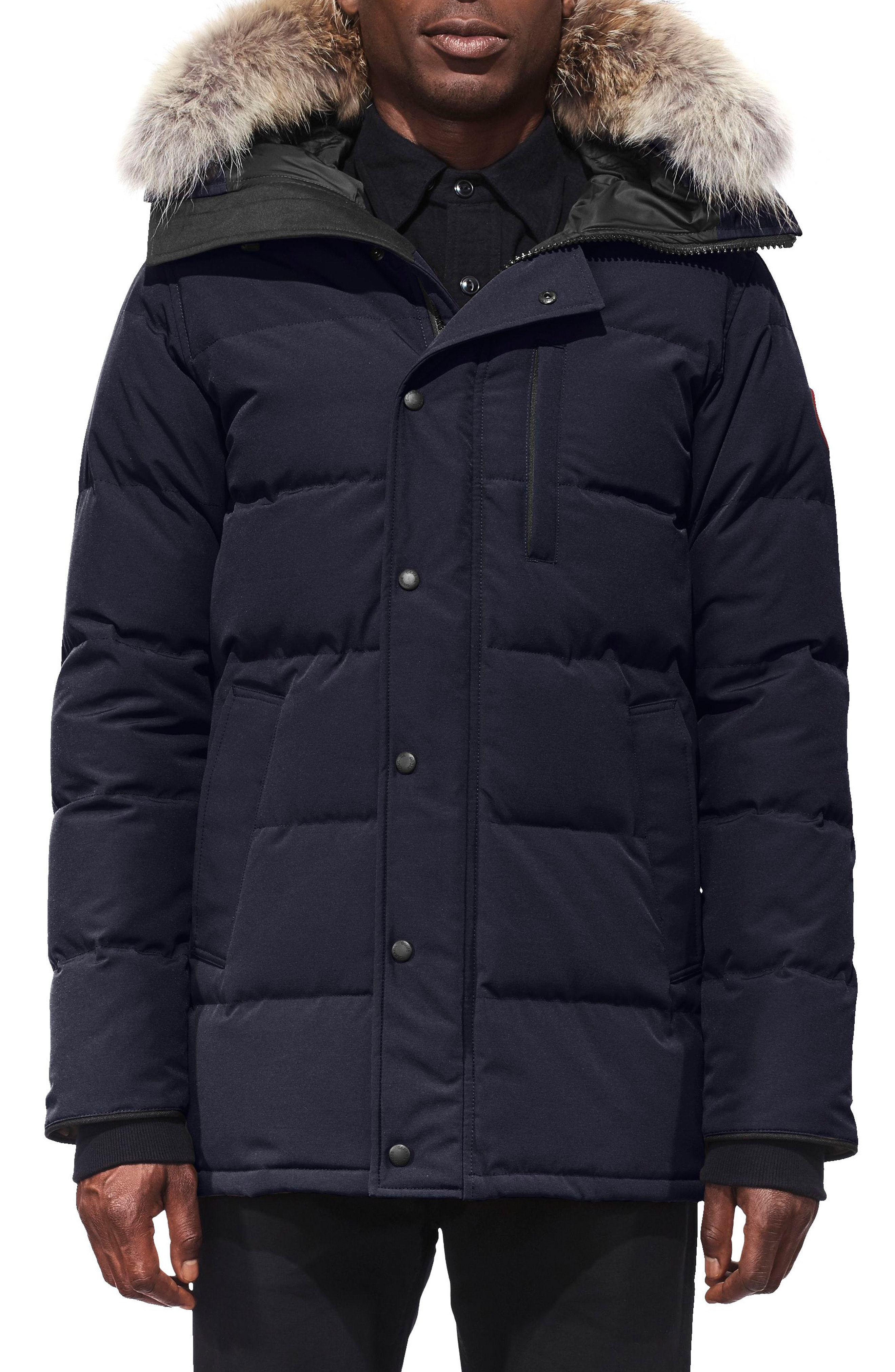 Canada Goose Carson Slim Fit Hooded Down Parka with Genuine Coyote Fur Trim