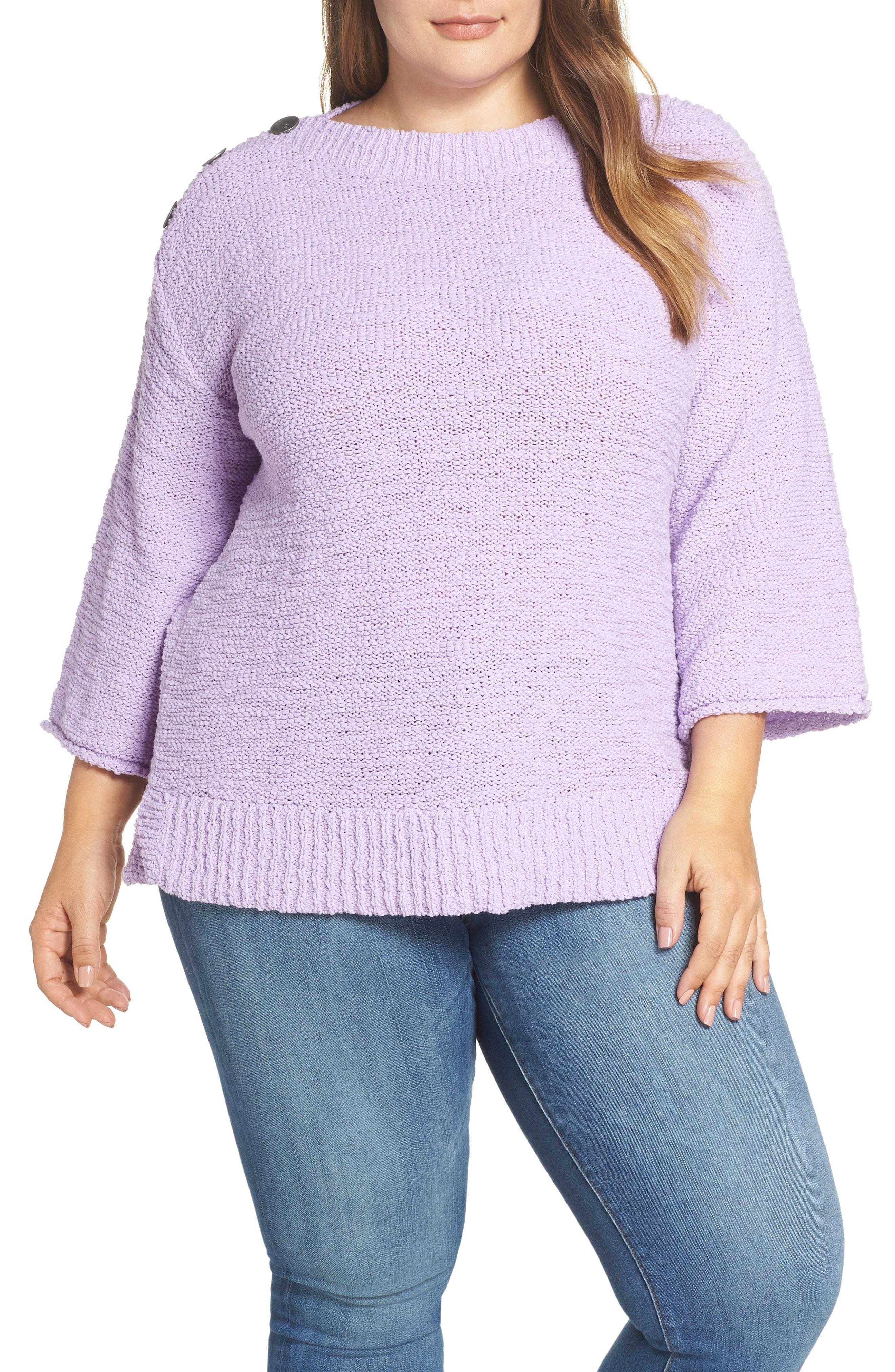 Caslon Button Shoulder Boat Neck Sweater (Plus Size)