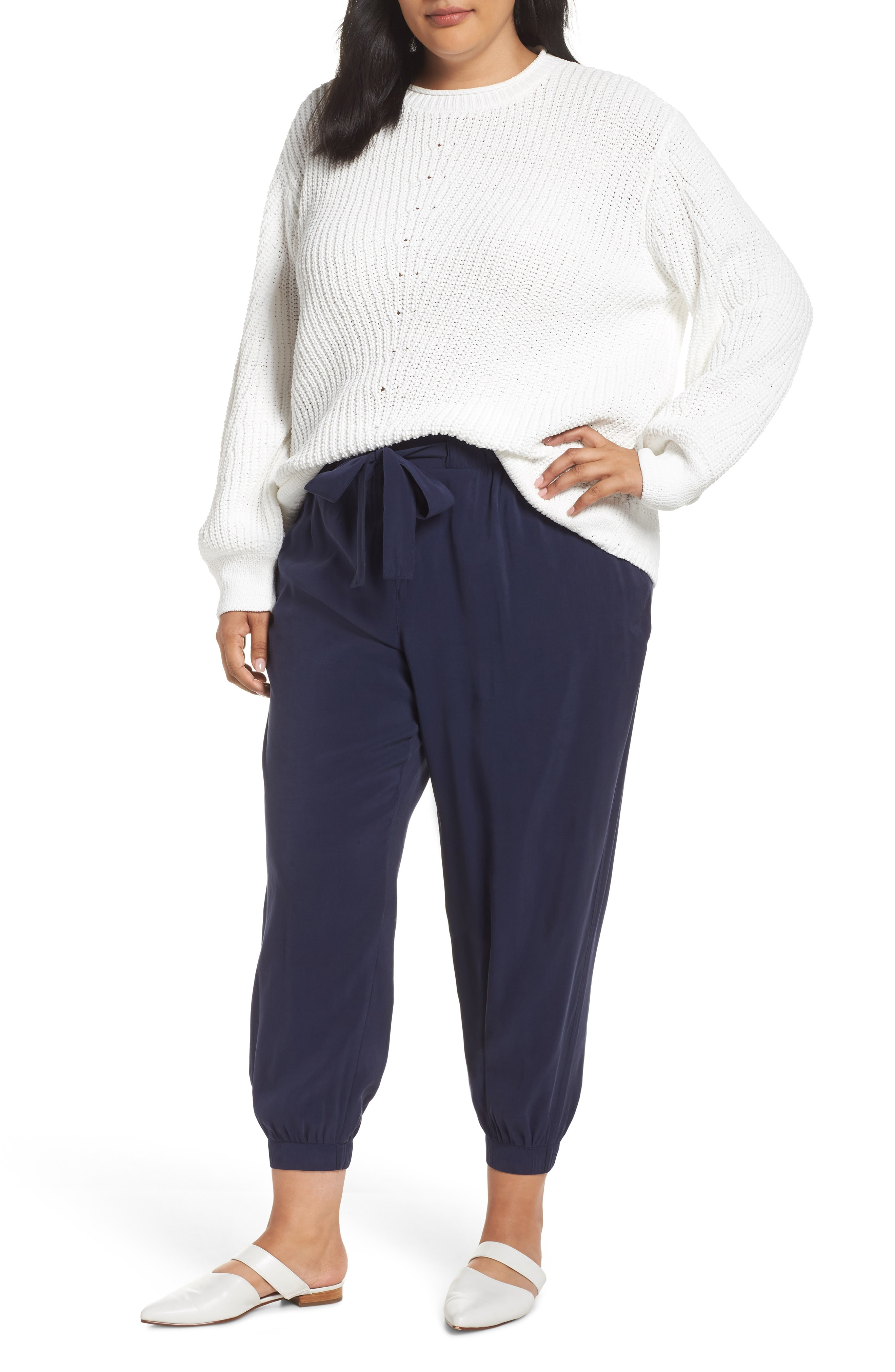 Caslon Chenille Crewneck Sweater (Plus Size)