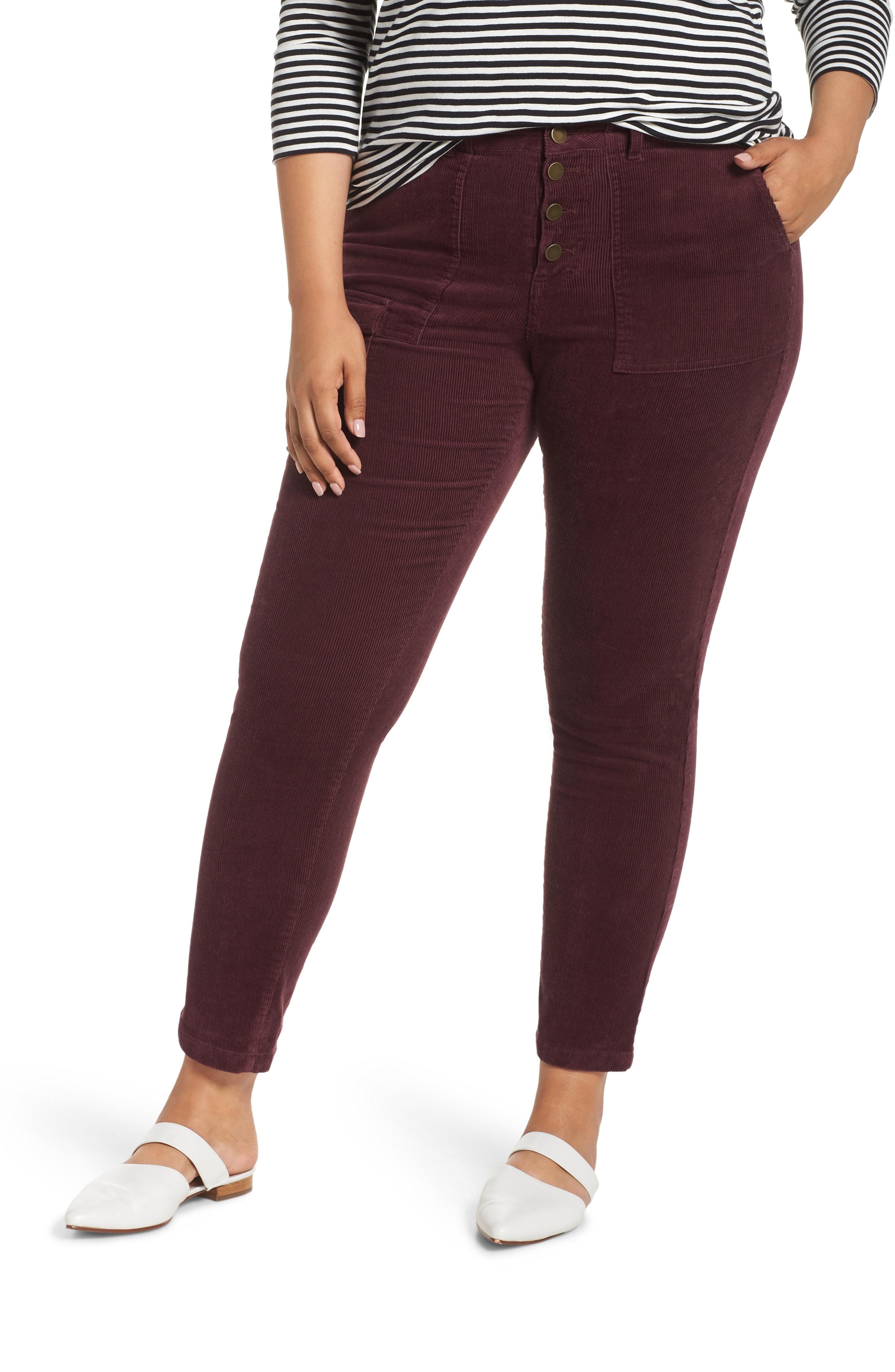 Caslon Corduroy Utility Pants (Plus Size)