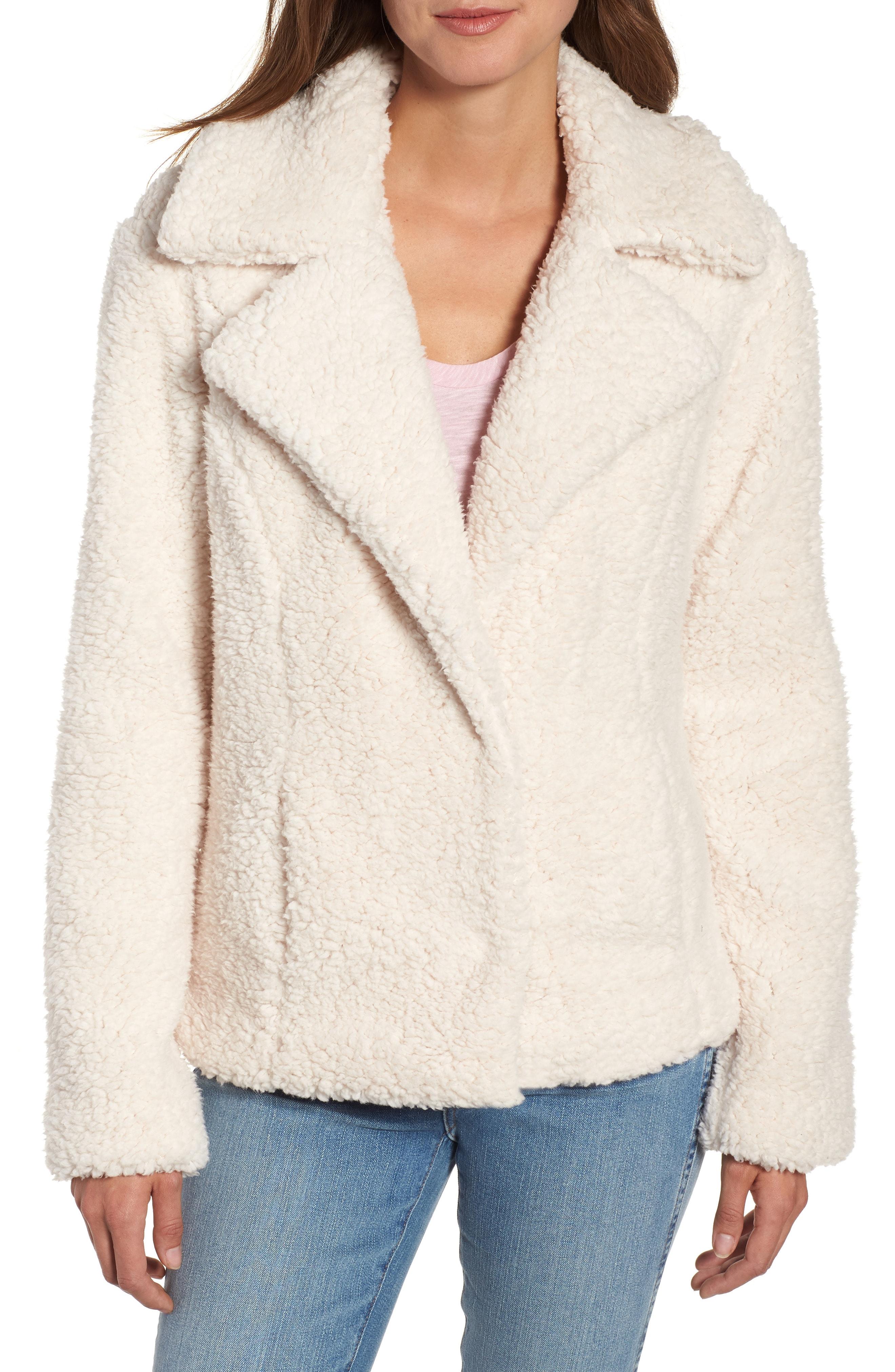 Caslon Faux Shearling Jacket (Regular & Petite)