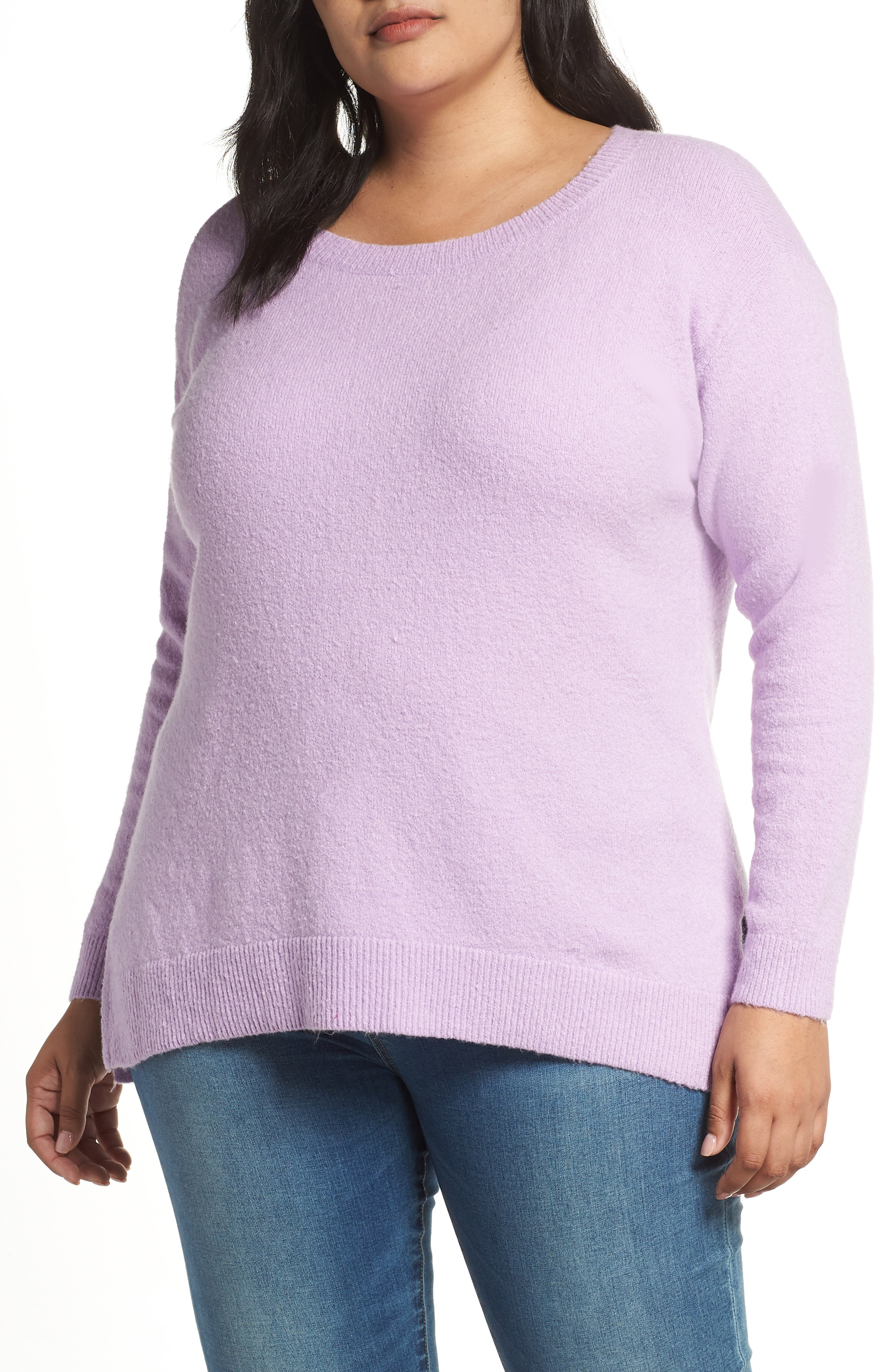 Caslon Fluffy Zip Back High/Low Tunic Sweater (Plus Size)