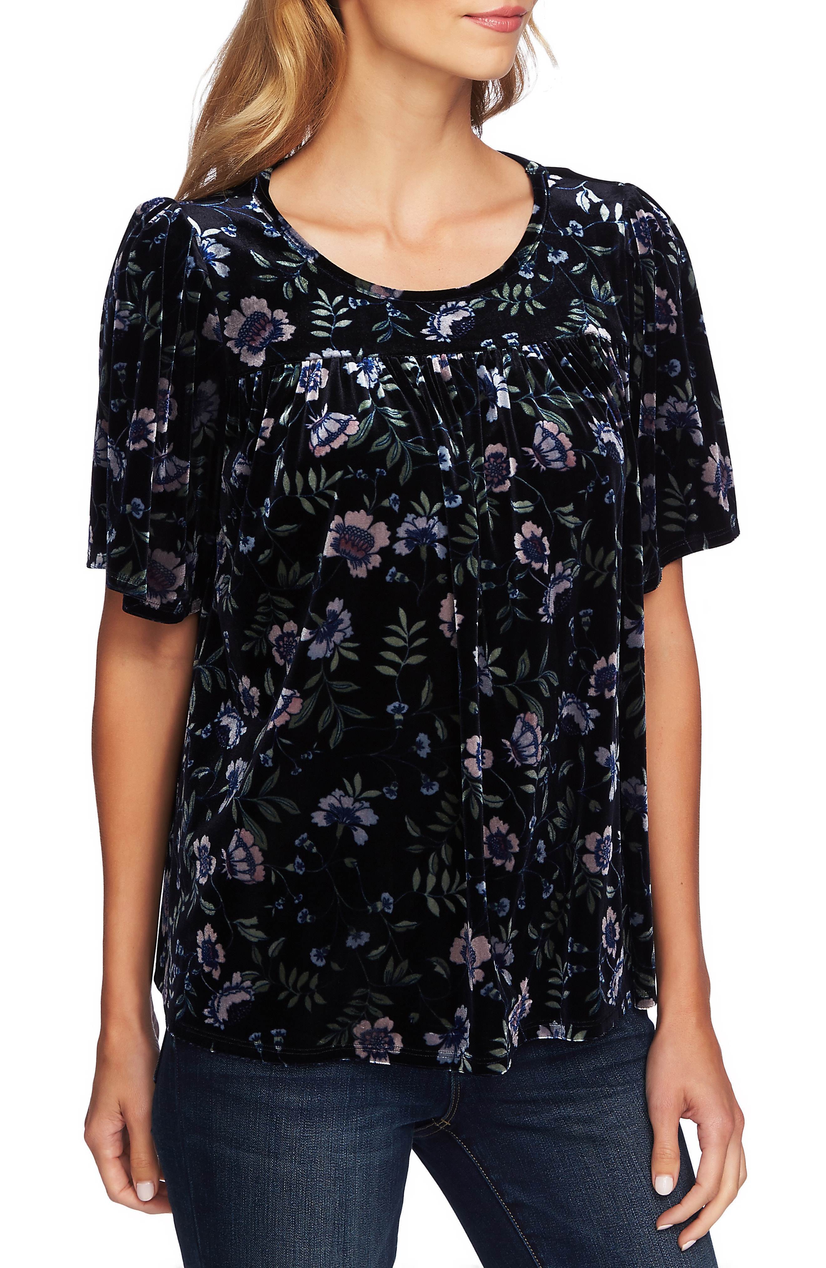 CeCe Bloomsbury Floral Velvet Top