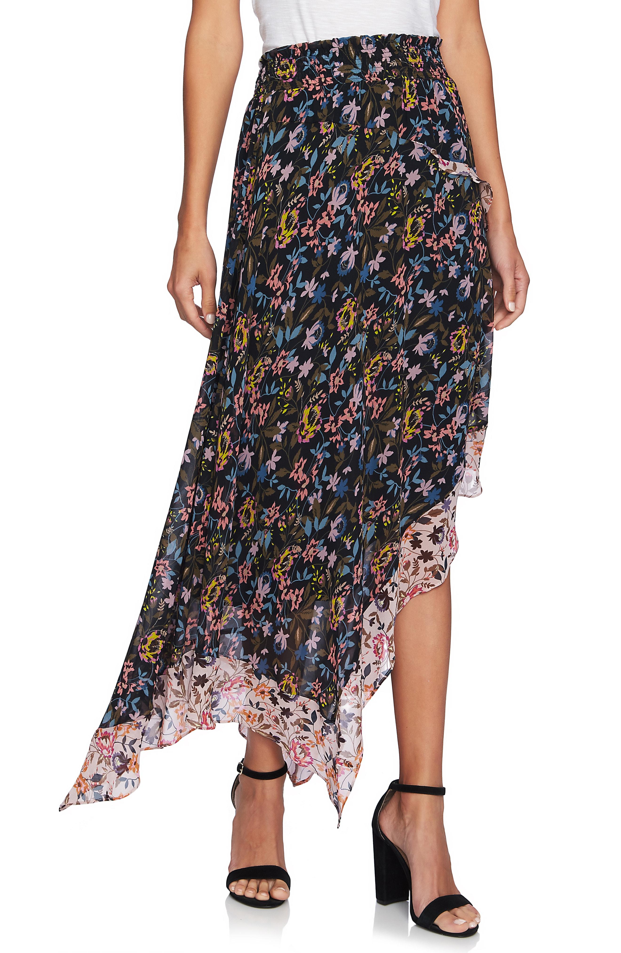 CeCe Demure Flora Asymmetrical Tiered Ruffle Skirt